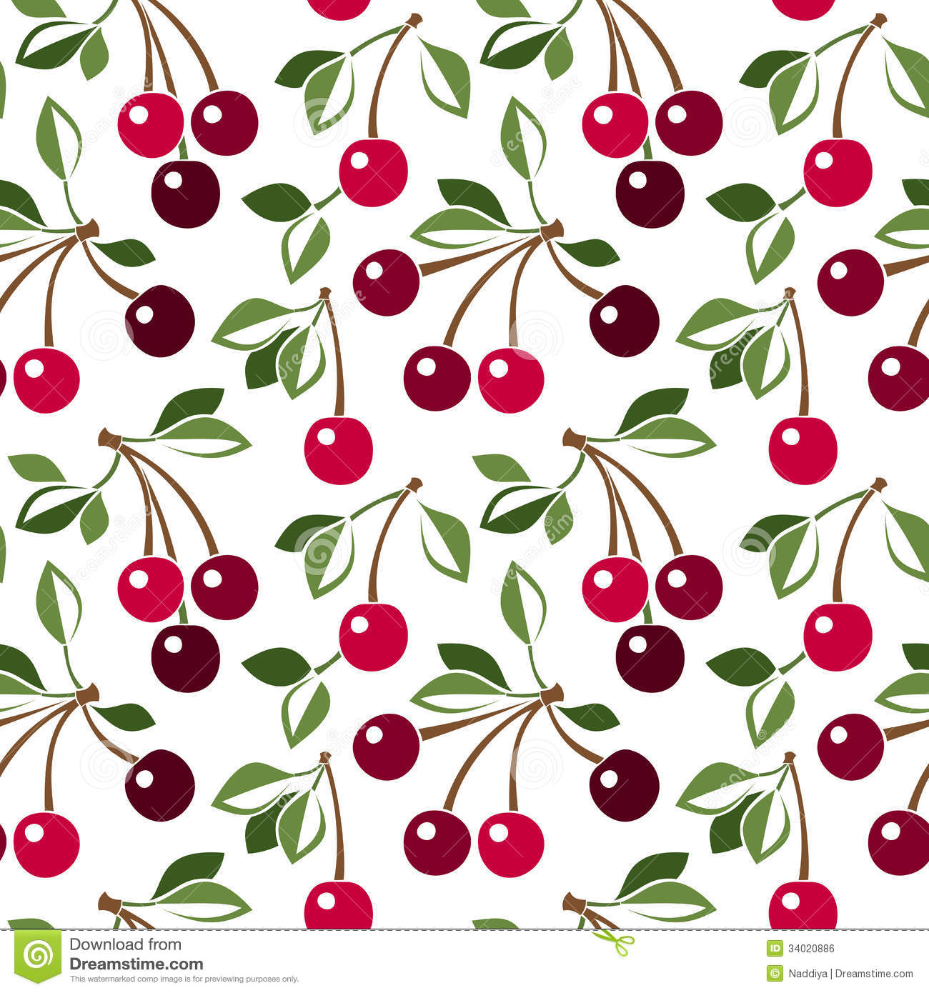 Seamless Pattern With Cherry Royalty Free Stock Image