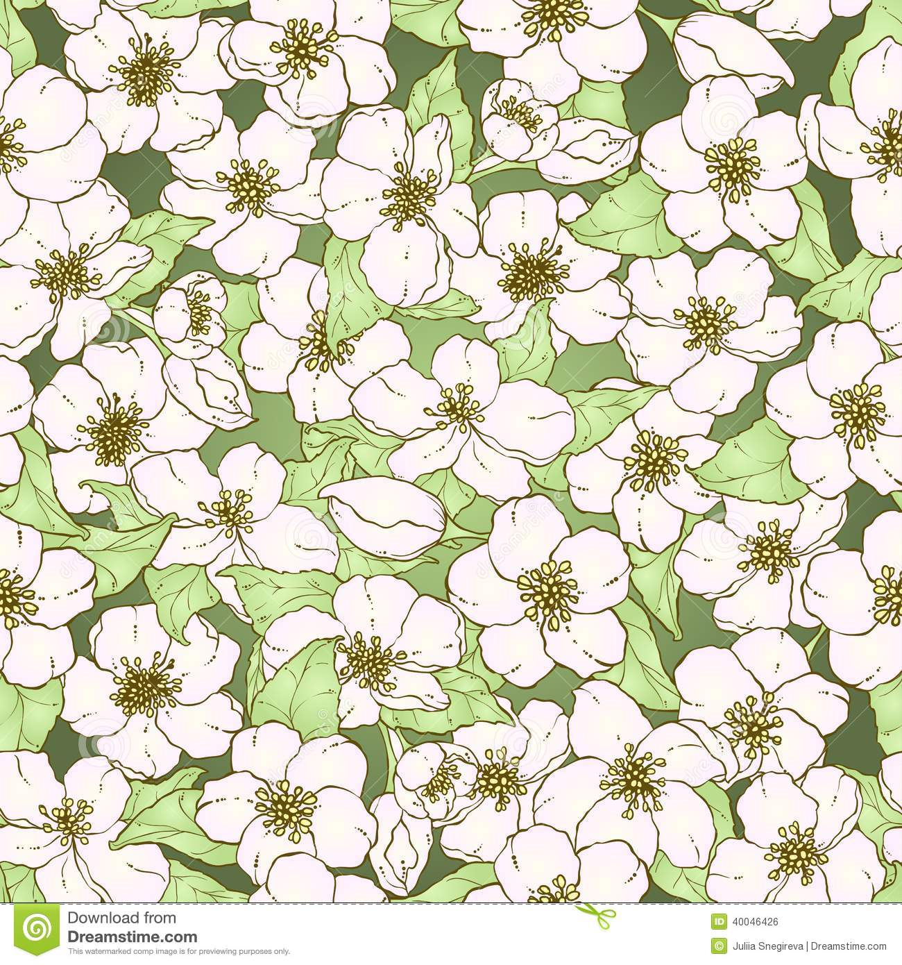 Seamless Pattern With Cherry Blossom Flowers. Stock Vector ...