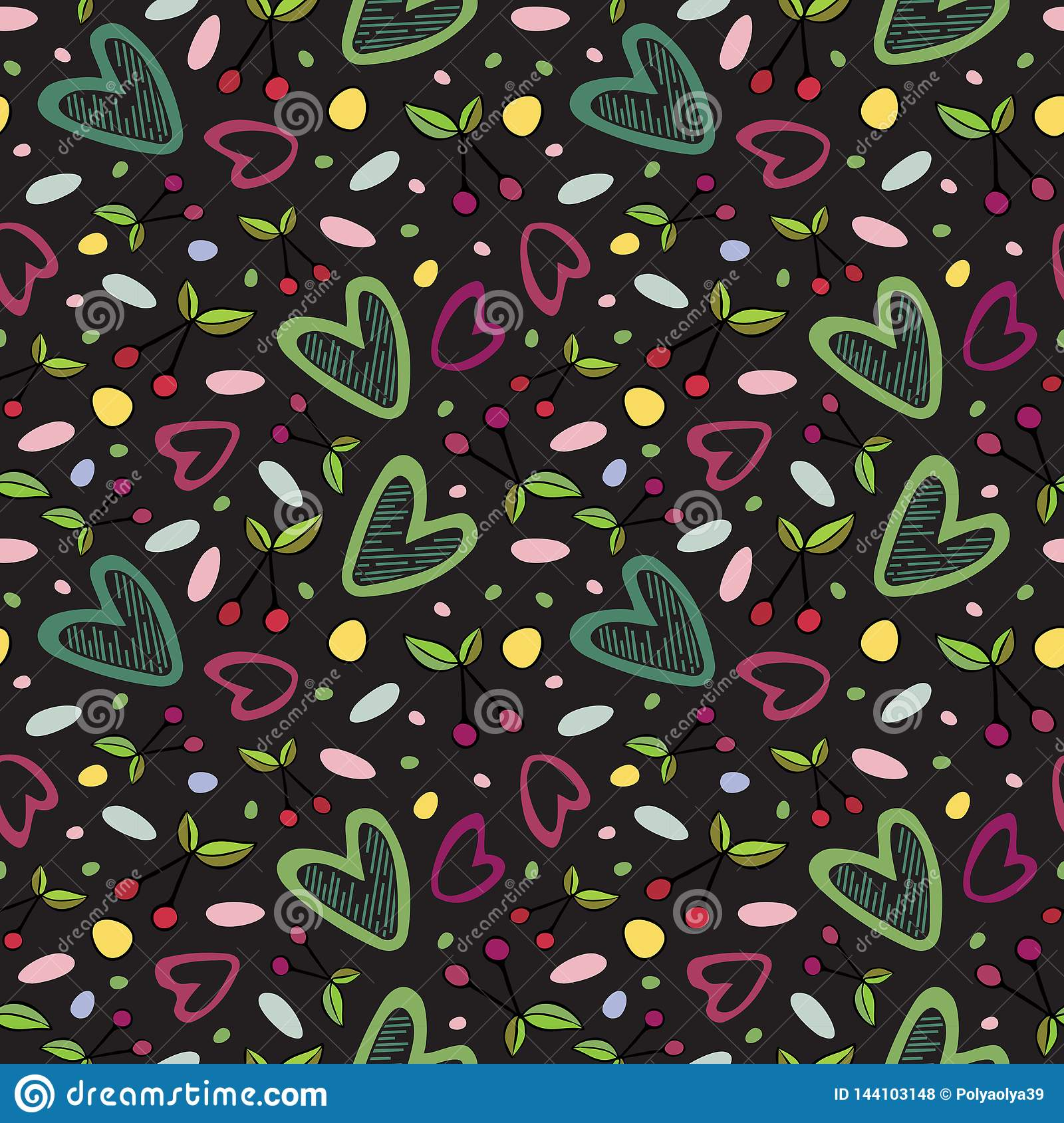 Seamless pattern with cherry and heart romantic elements on the dark background.