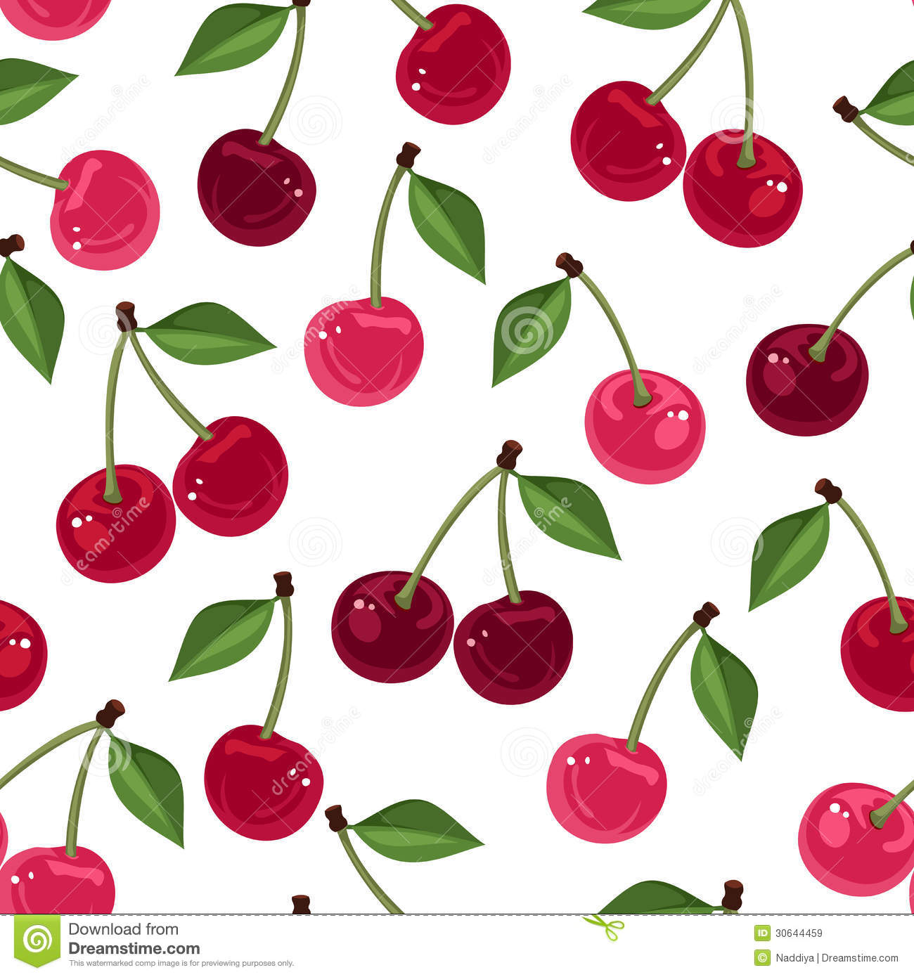 Vector Seamless Pattern With Cherry. Royalty Free Stock Images - Image ...