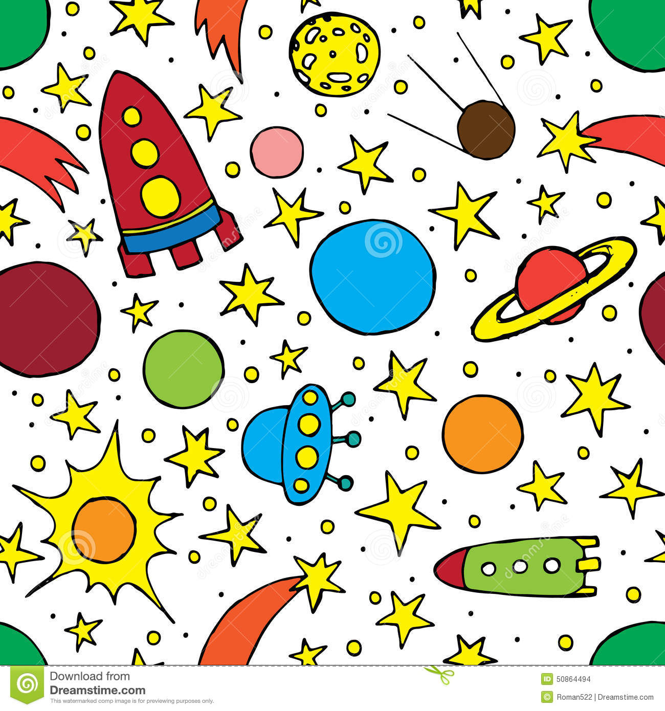 Space Rocket Launch And Galaxy Wall Mural Wallpaper
