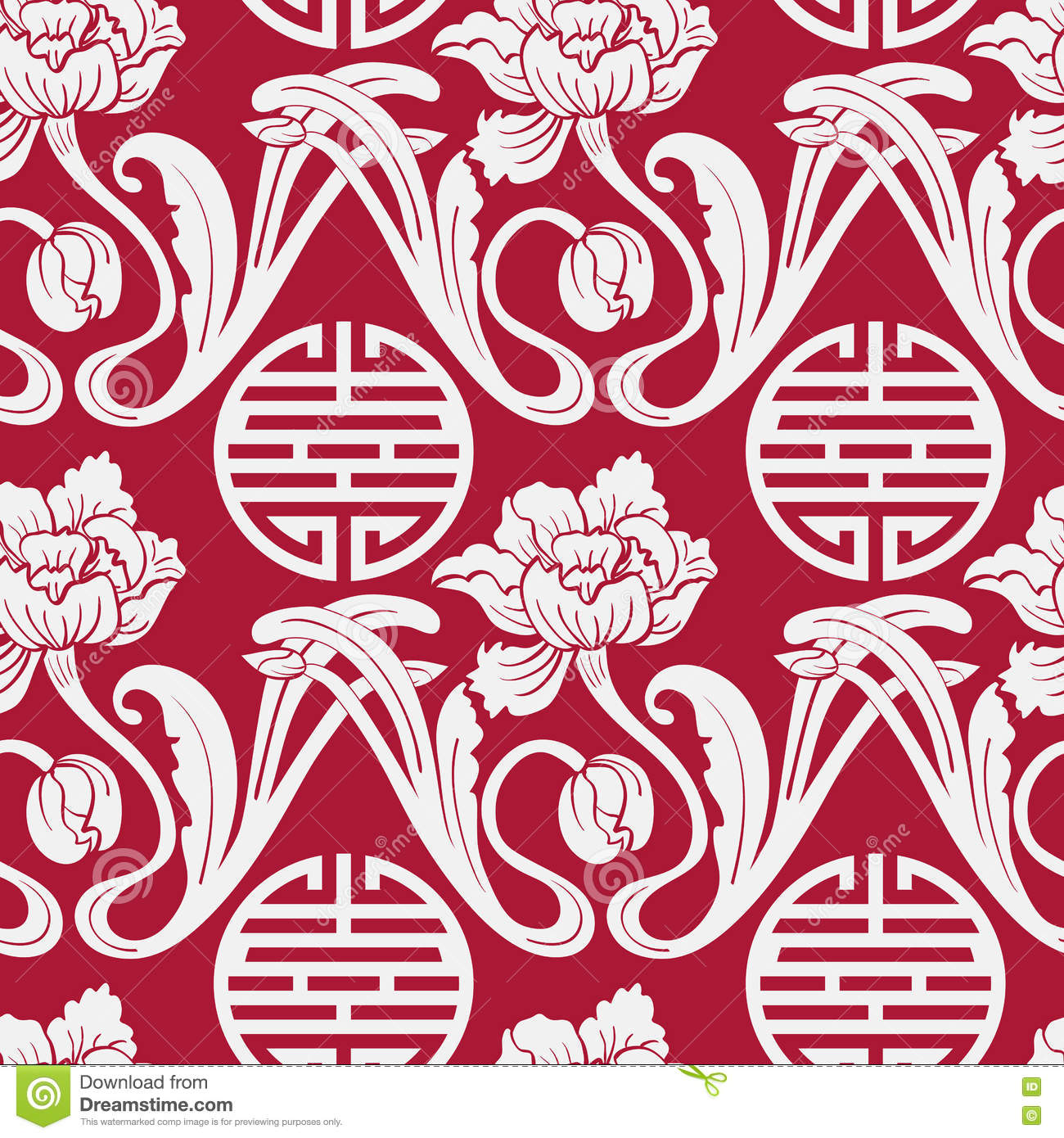 Seamless Pattern Of Chinese Symbols And Flowers Red And