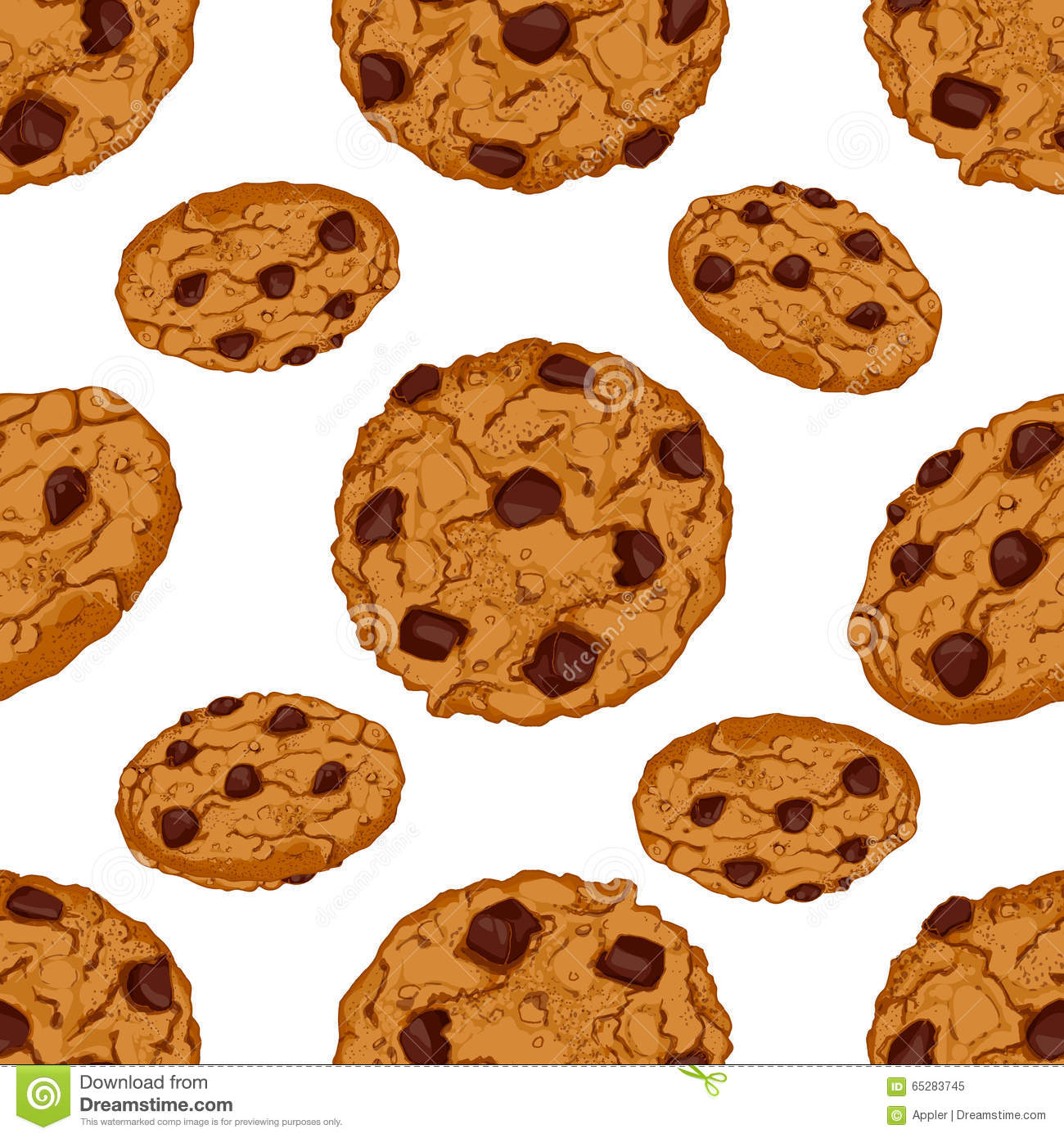 Seamless pattern with chocolate chip cookies