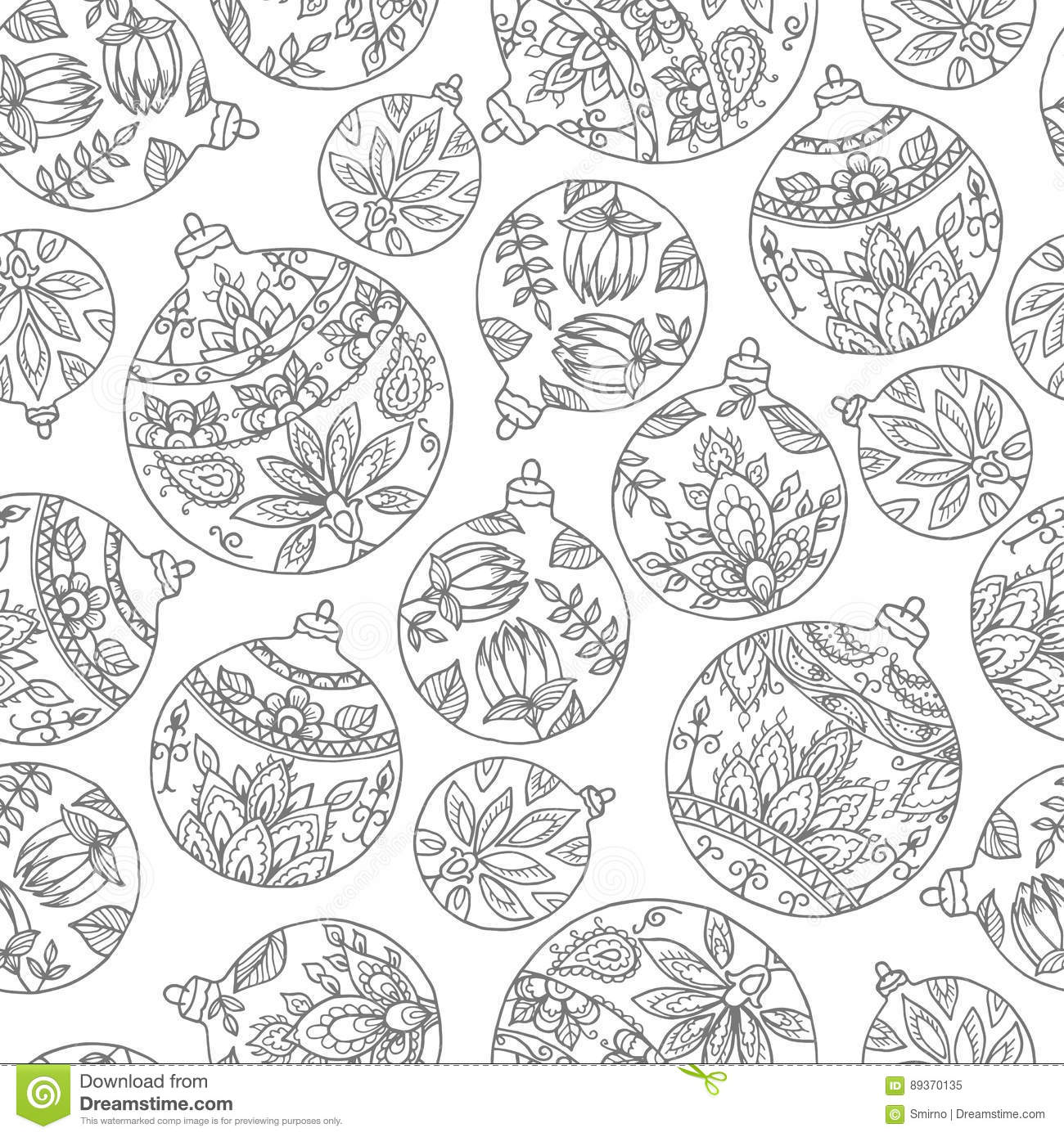 Seamless Pattern With Christmas Balls. Paisley Indian Style Deco ...