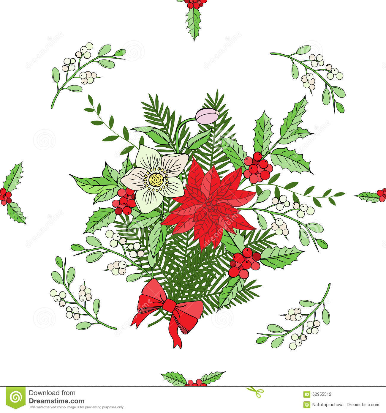 Seamless pattern with Christmas decoration