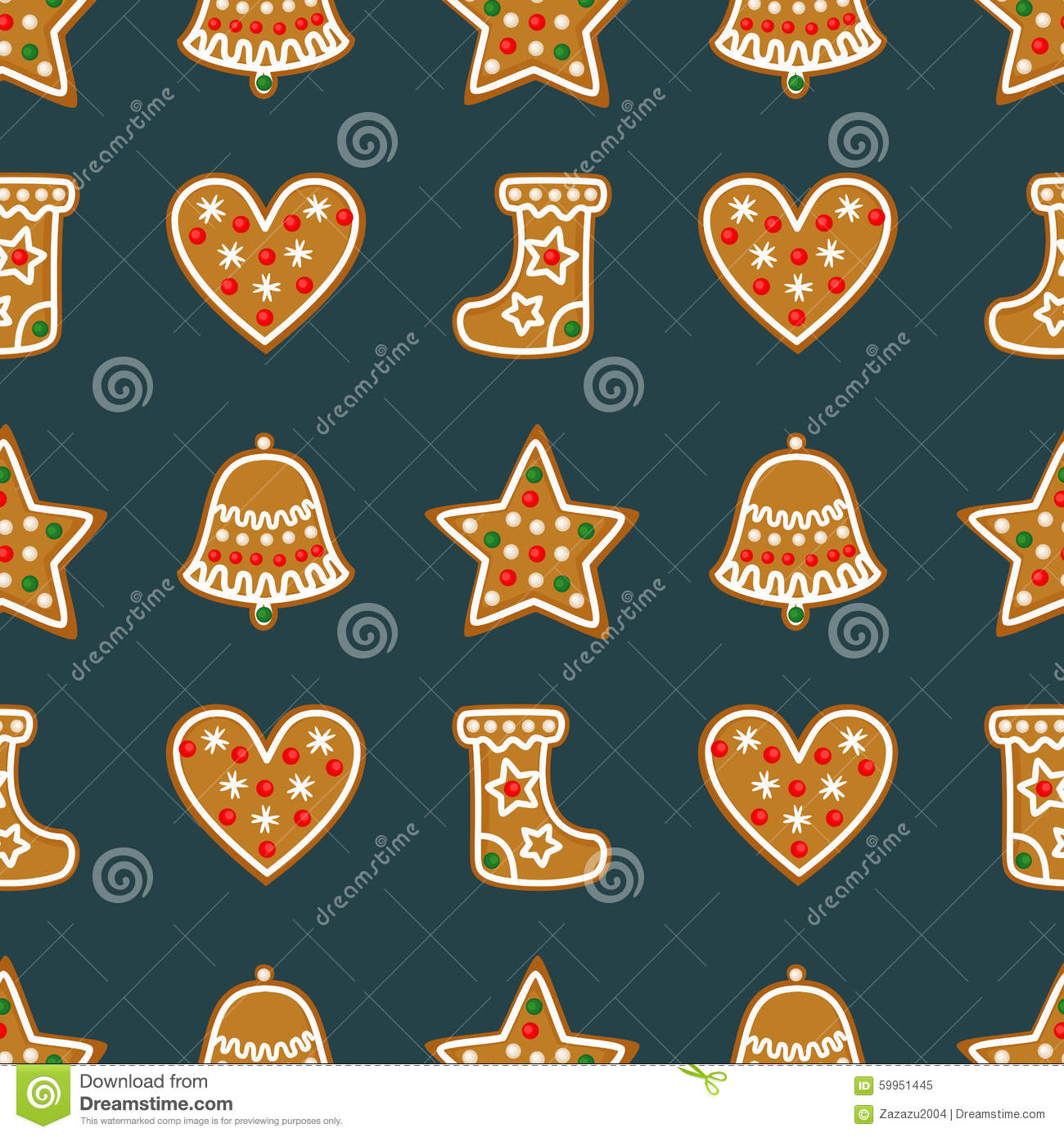 seamless pattern with christmas gingerbread cookies bell xmas