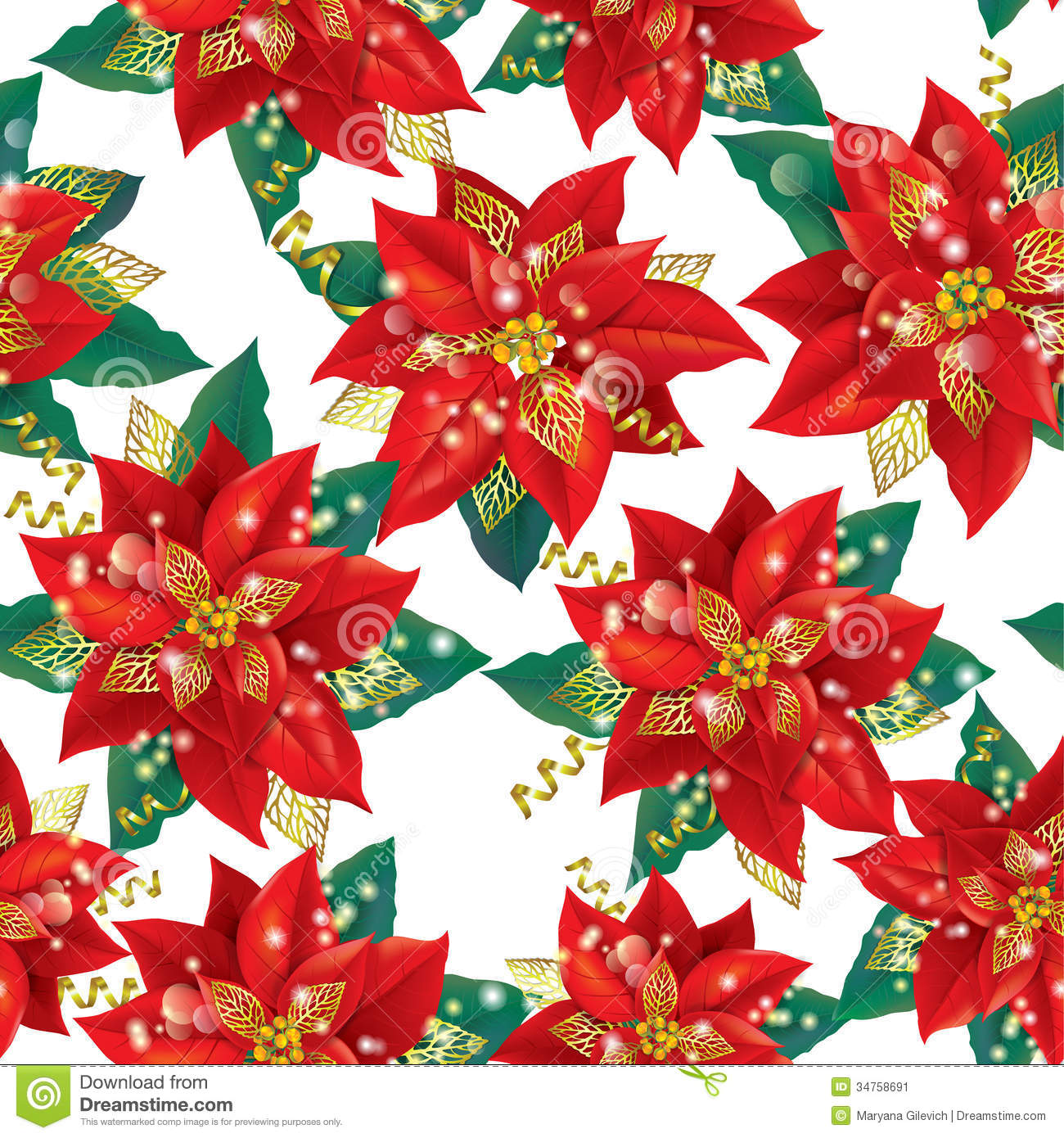 Seamless Pattern Of Christmas Poinsettia With Gold Stock Image - Image ...