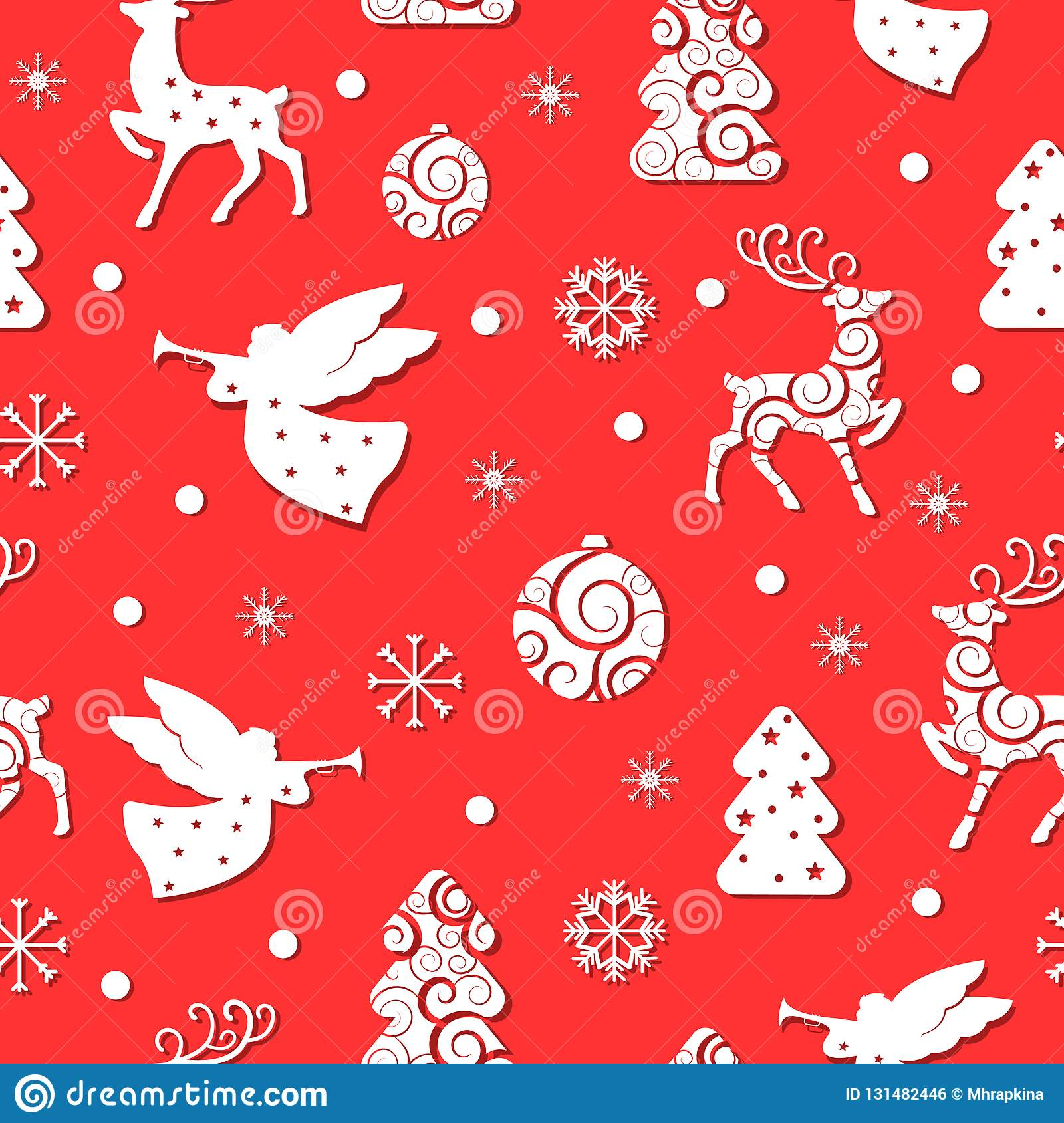 Christmas seamless pattern with holiday symbols