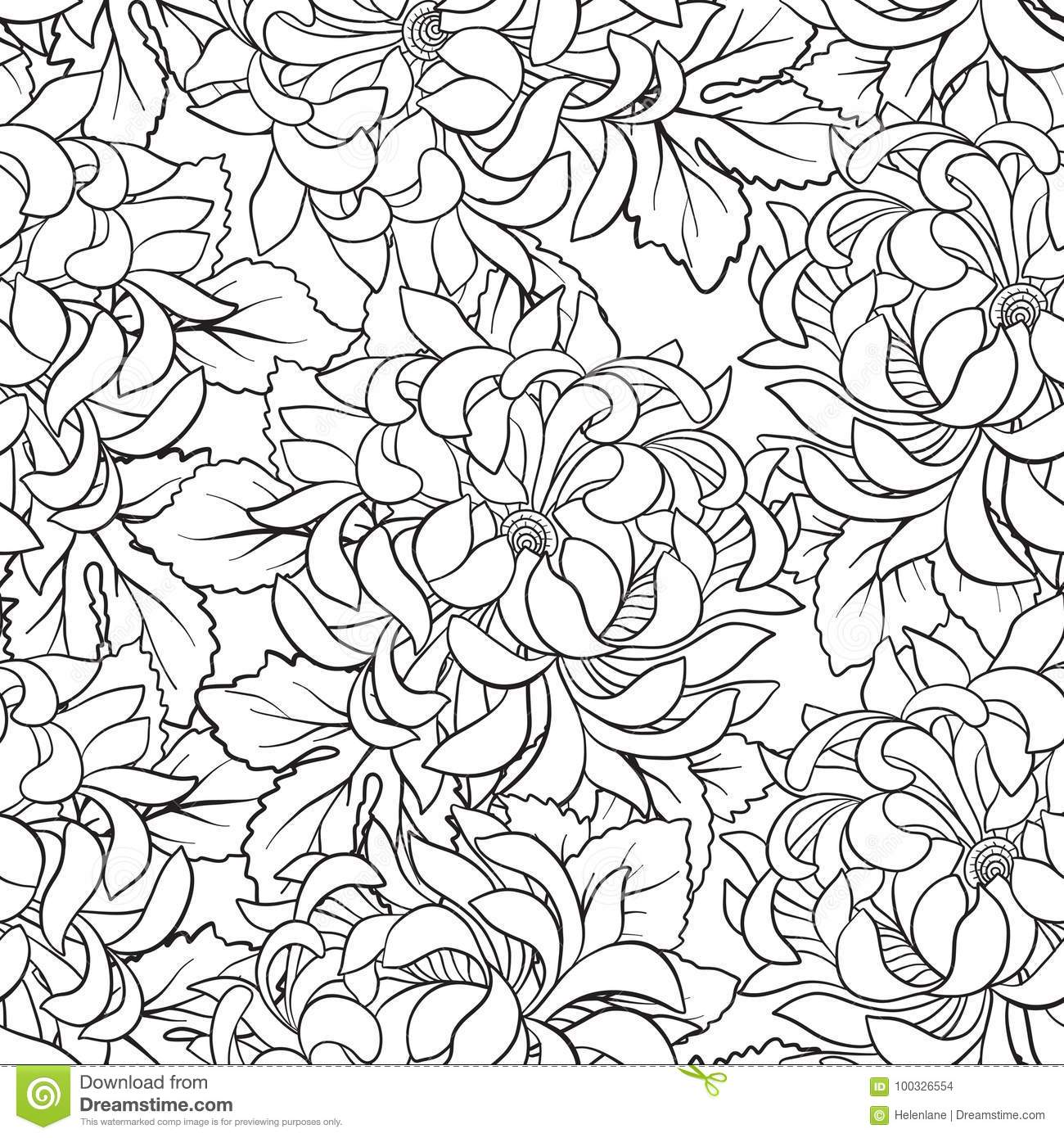 Seamless Pattern With Chrysanthemum In Japanese Style. Outline D ...