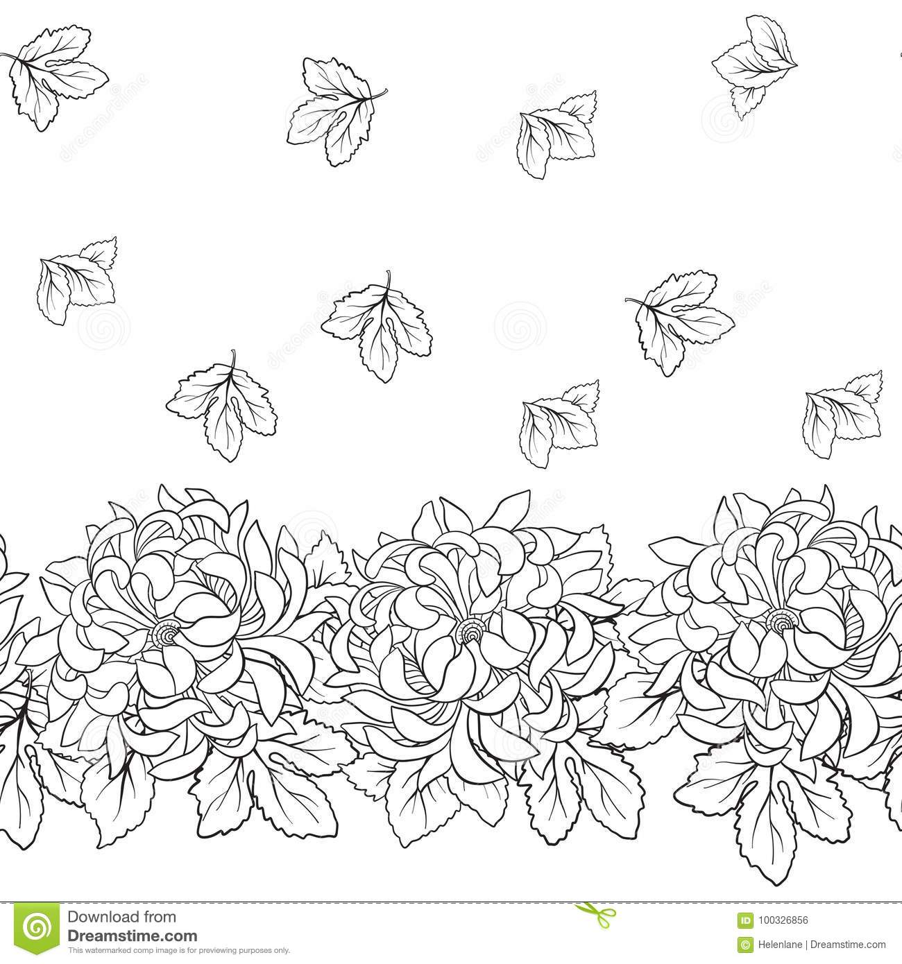 seamless pattern with chrysanthemum in japanese style outline d