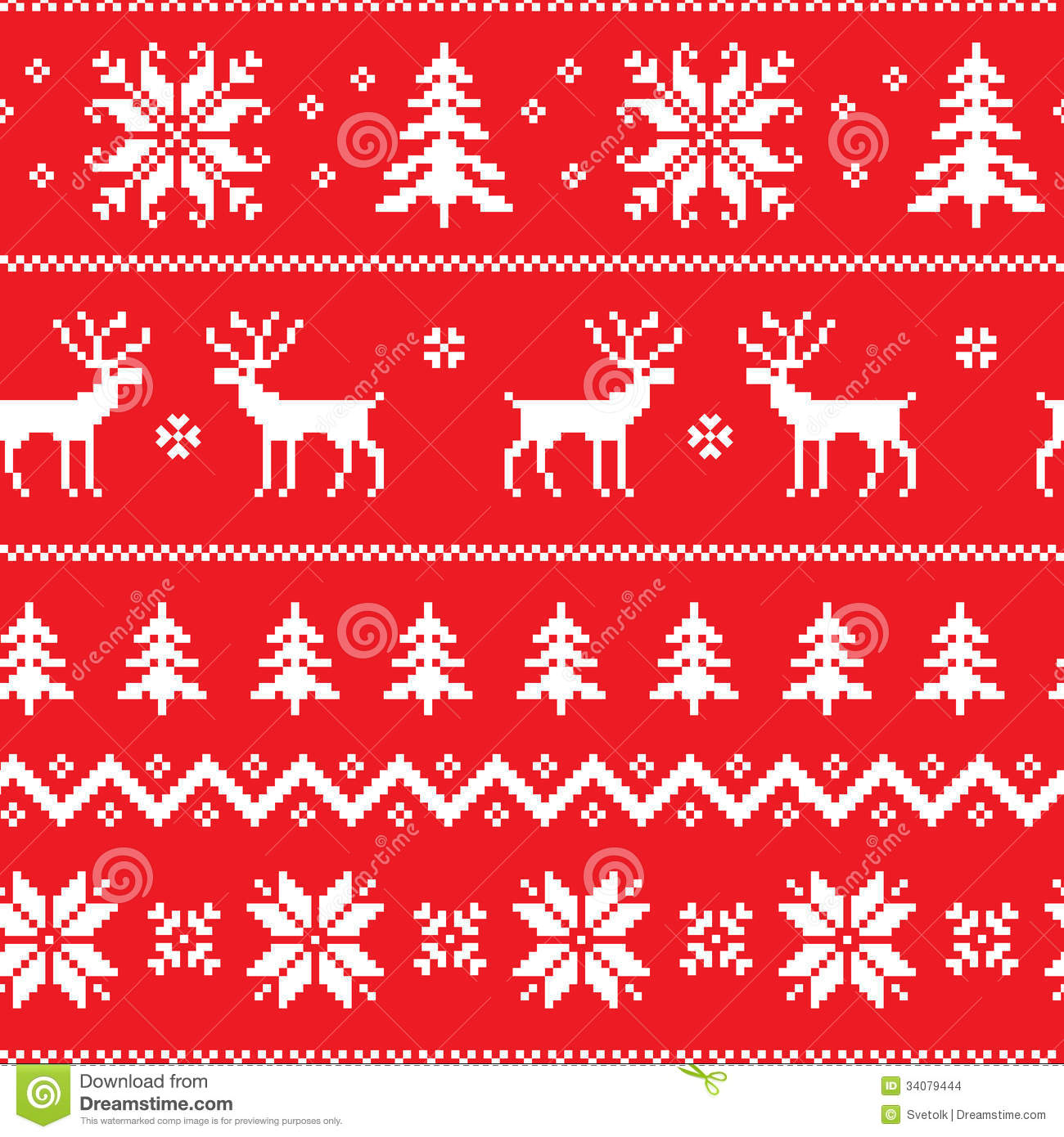 Seamless Pattern With Classical Sweater Design Stock Vector Snowflakescrochetpatterndiagram Winter Deer Snowflake And Christmas Tree
