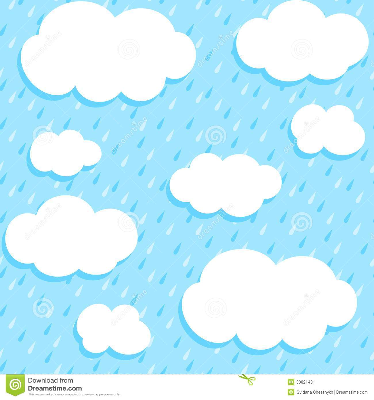 Seamless Pattern With Clouds And Rain Stock Vector Image