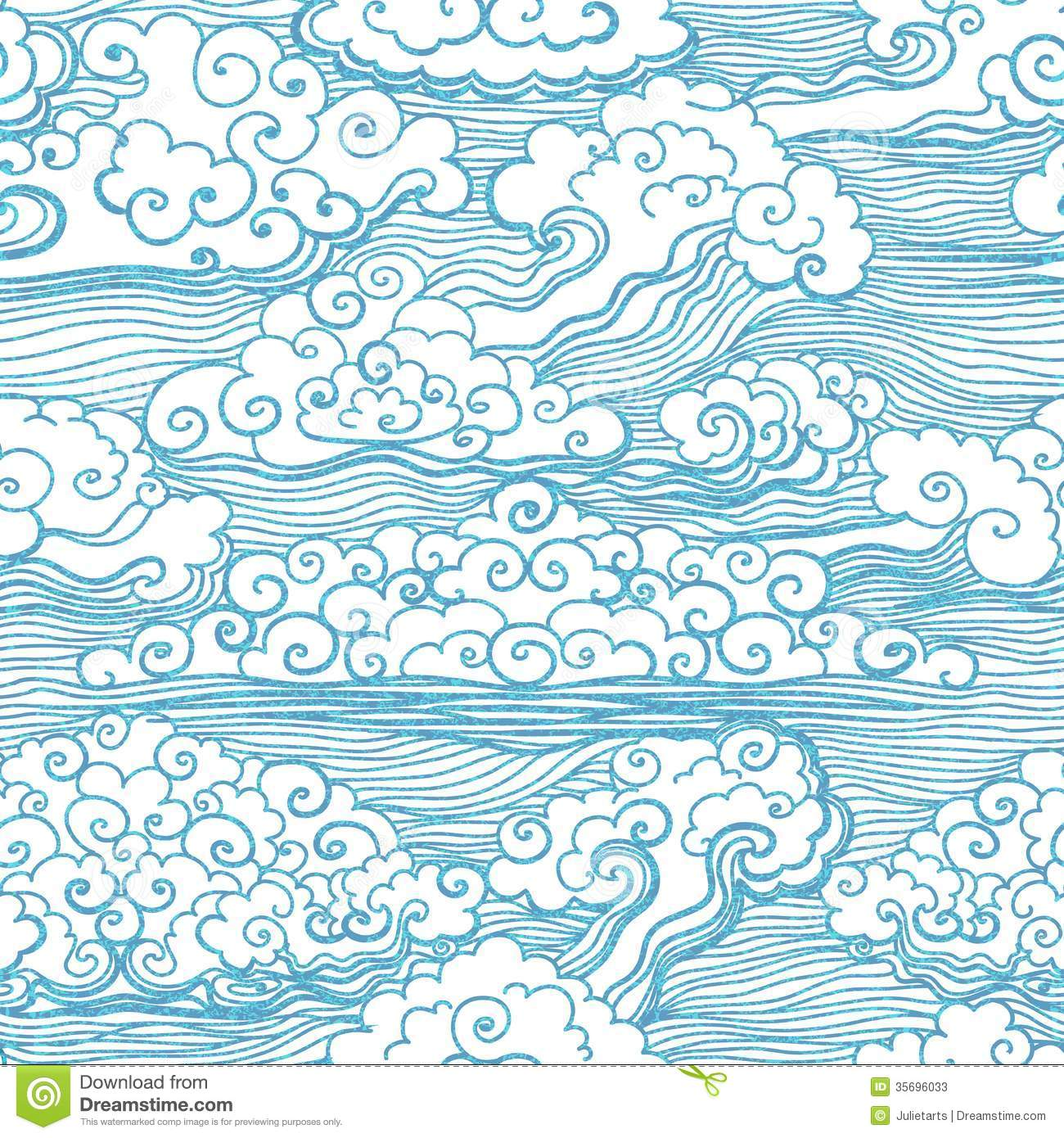 Seamless Pattern With Clouds Vector EPS 10 Stock Photos Image