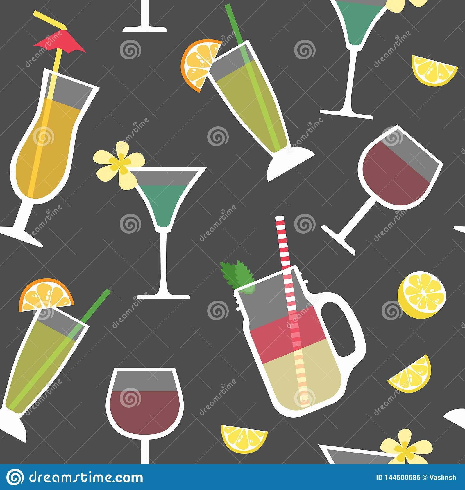 Seamless pattern with cocktails, alcoholic drinks