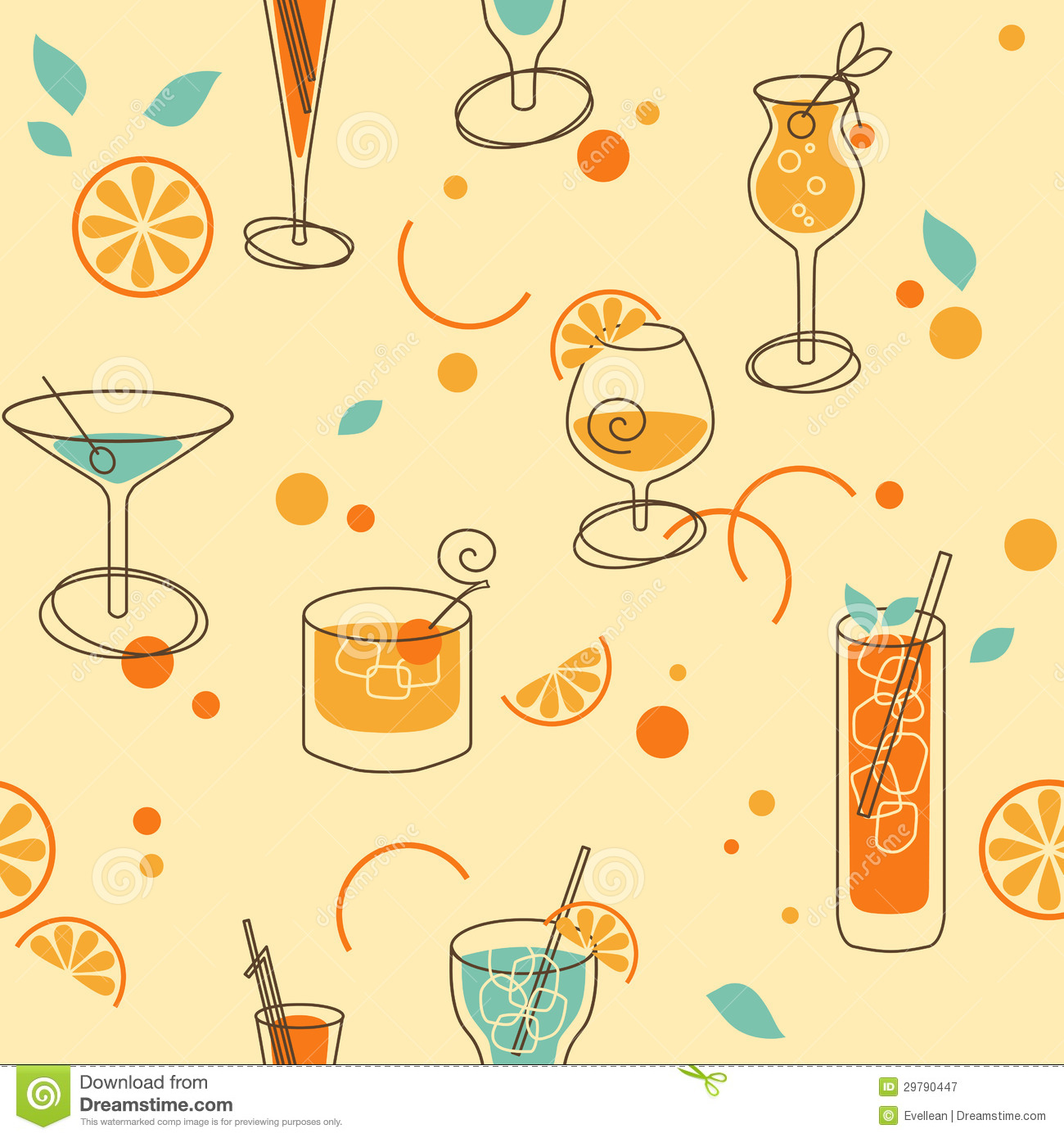Cocktail pattern royalty free stock photography image for Retro images