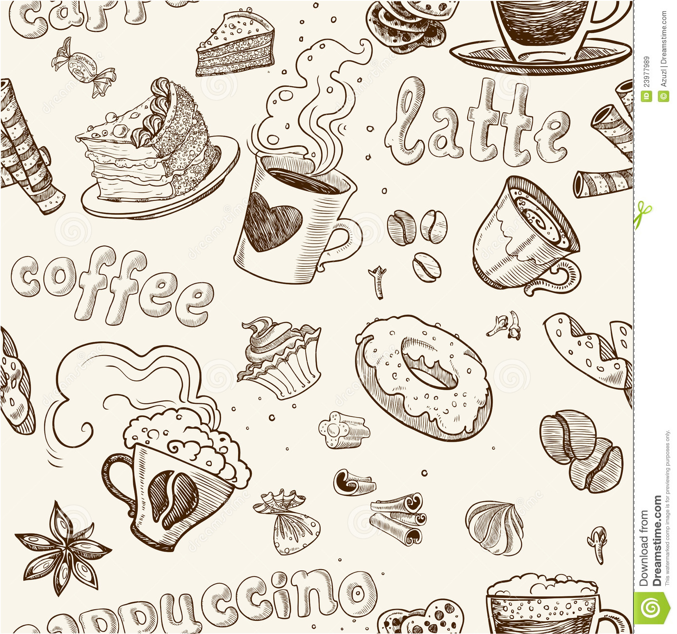 Seamless Pattern With Coffee Cakes Pies And Latte Royalty