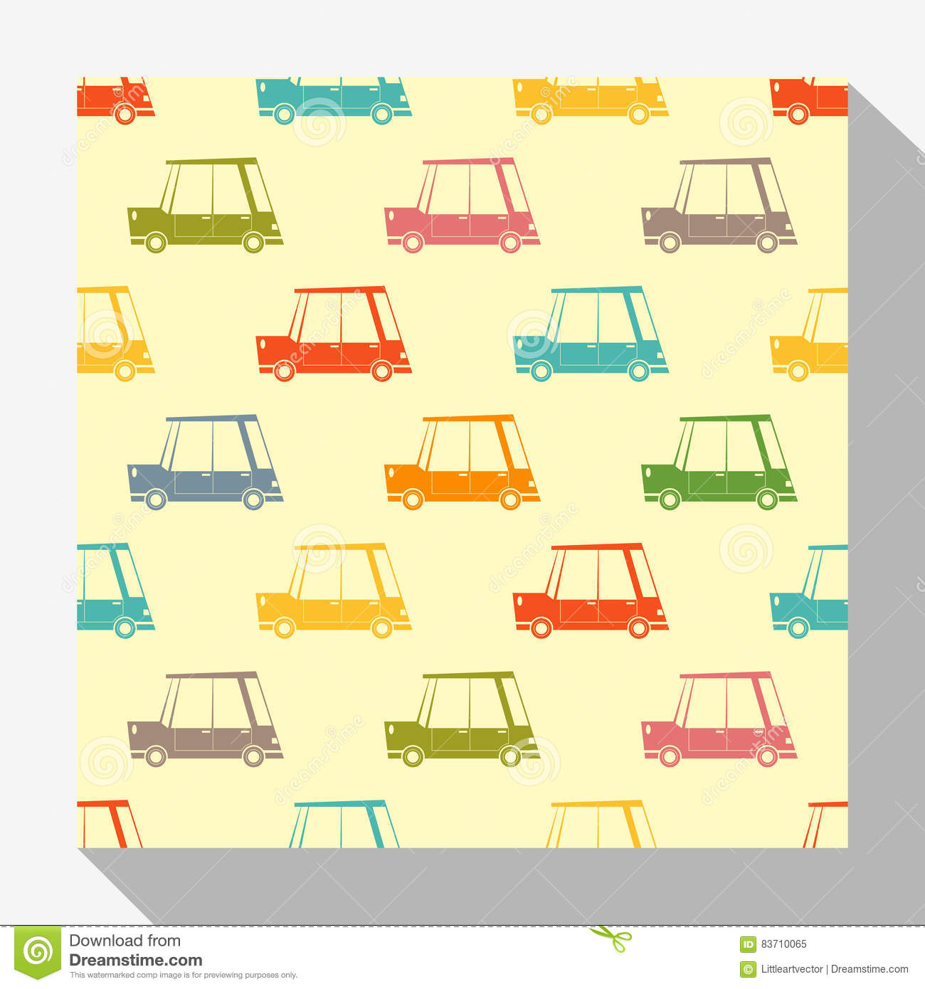 Seamless Pattern Collection With Car Stock Vector