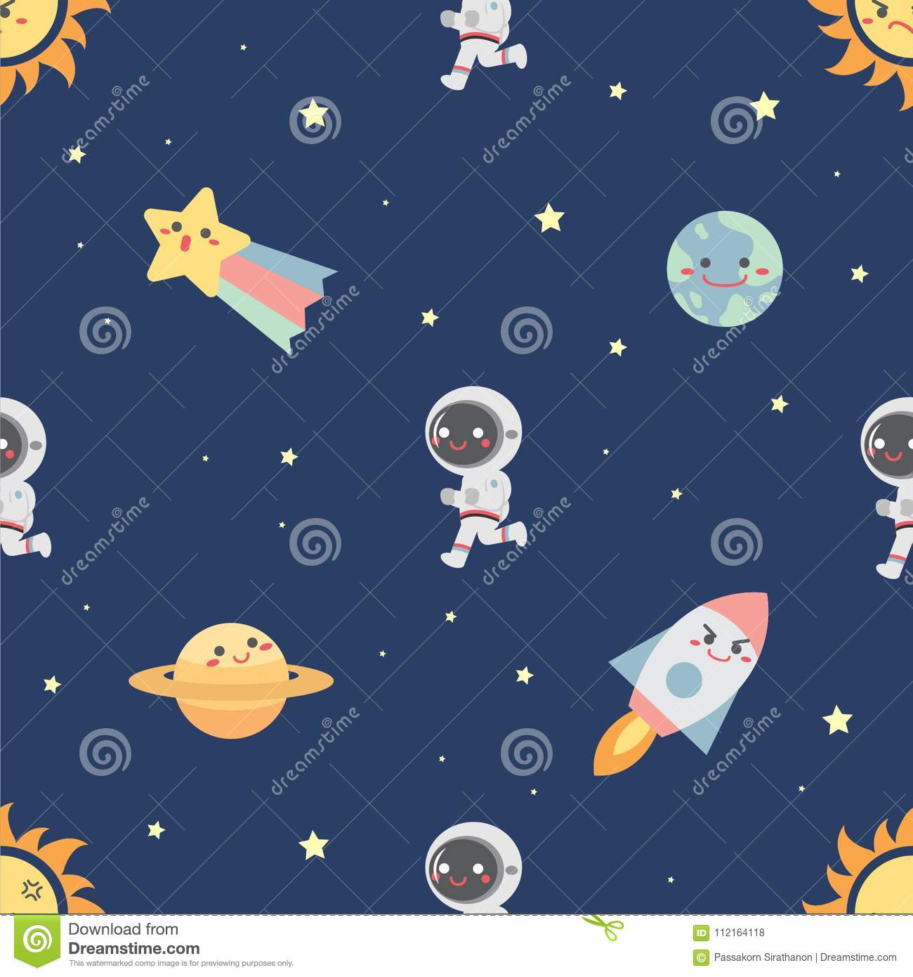 Seamless Pattern With Collection Of Cute Space Object And