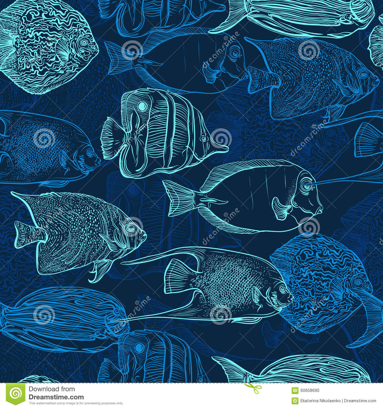 Download Seamless Pattern With Collection Of Tropical Fish Vintage Set Hand Drawn Marine Fauna