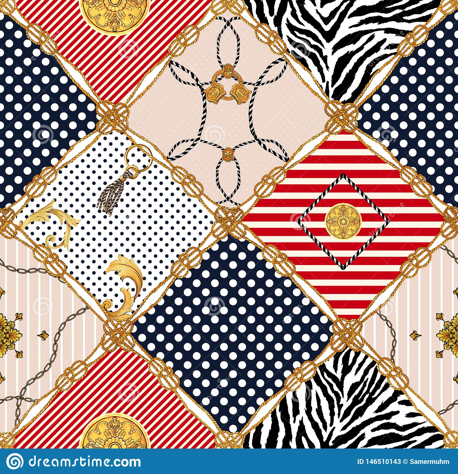 Seamless pattern, colored background, Golden rope with colored diamond shapes.