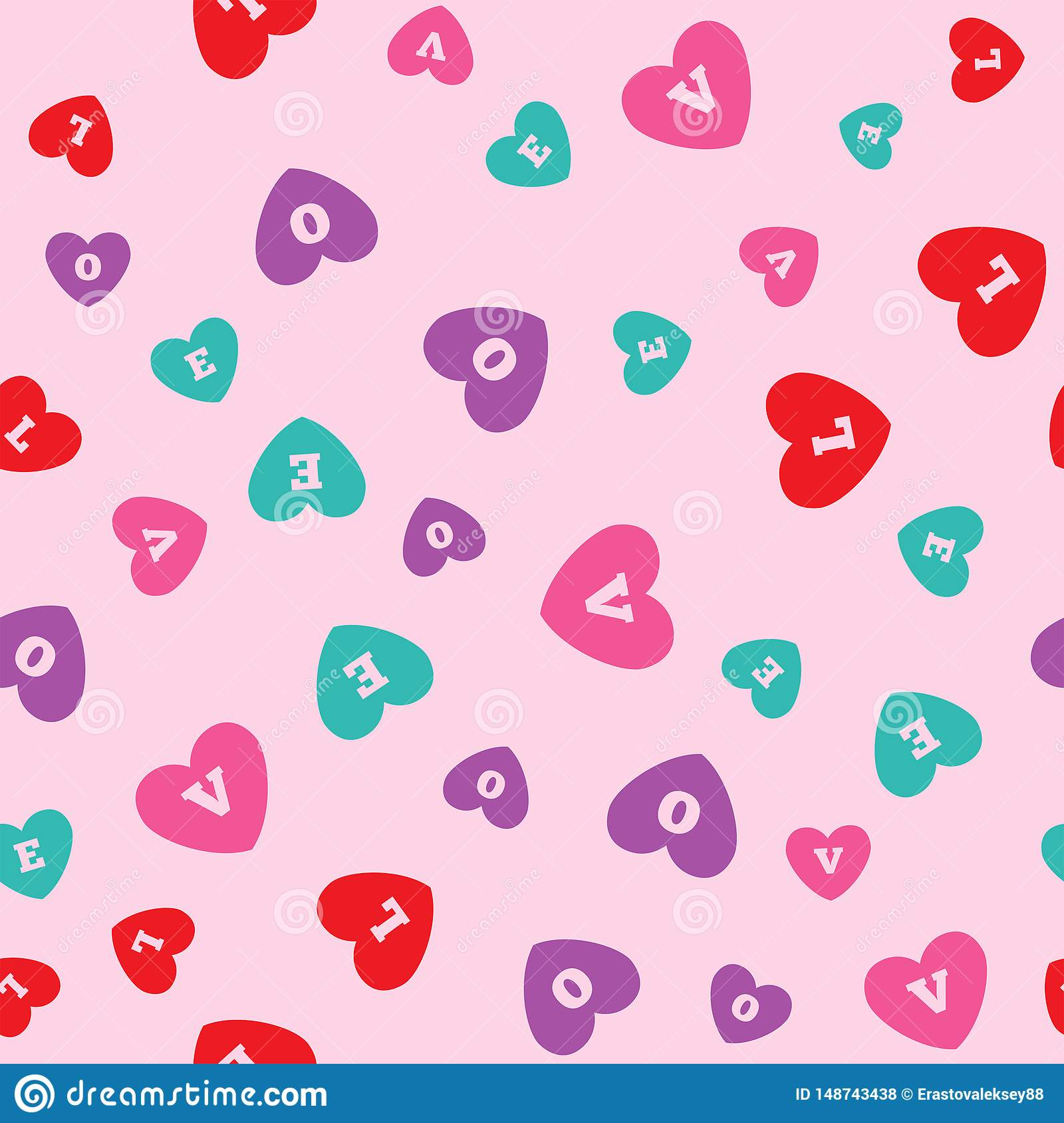 Seamless pattern with colored hearts with letters L, O, V, E. Romantic print. Vector illustration.
