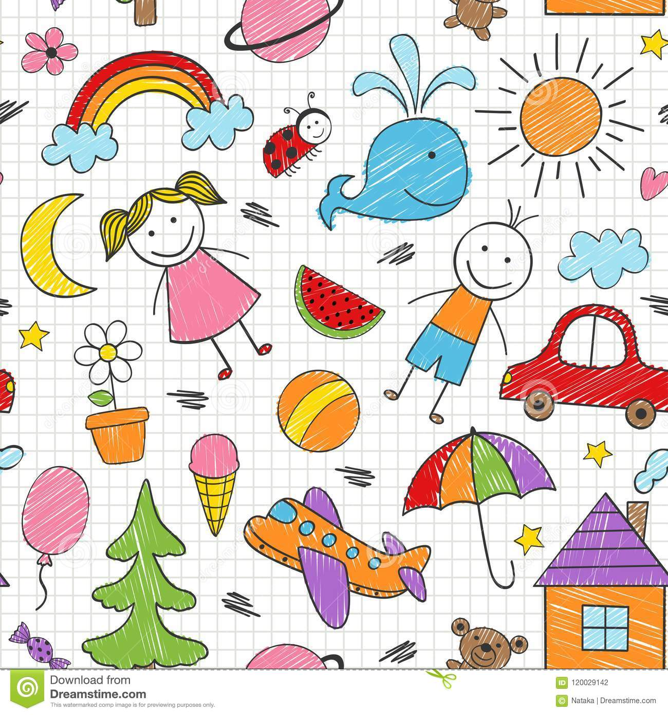 Seamless pattern with colored kids drawings