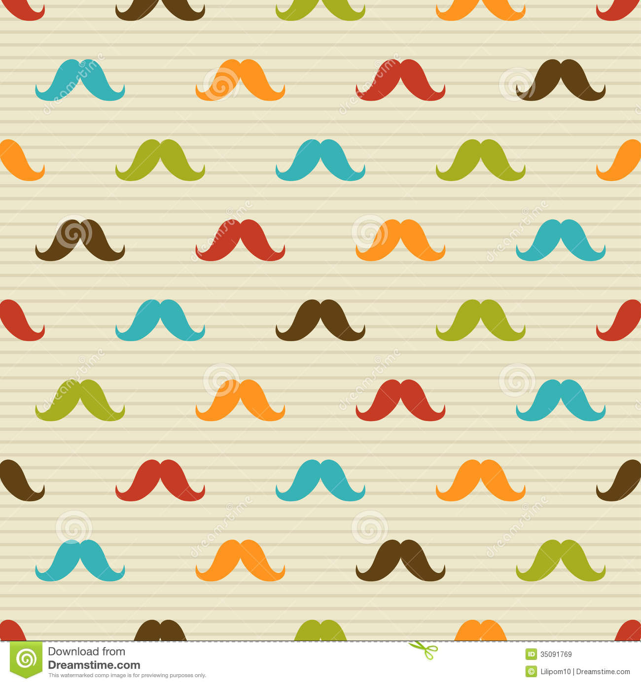 Seamless Pattern Of Colored Mustache On Striped Ba