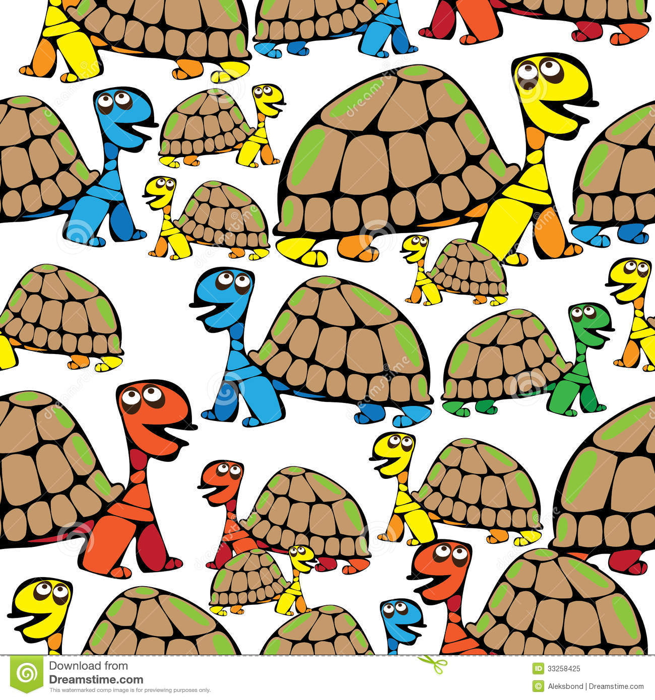 Seamless pattern colored turtle