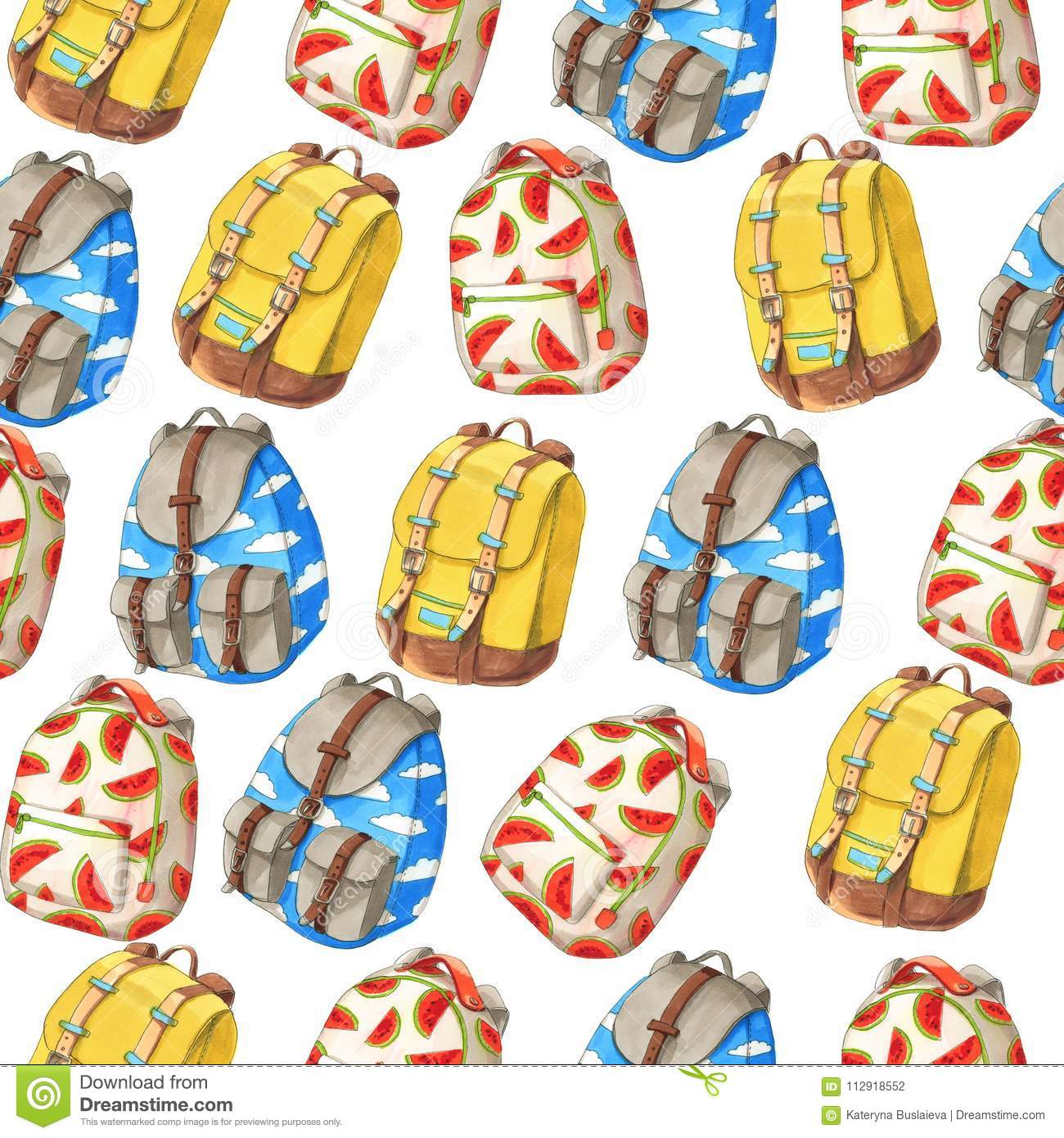 Seamless pattern of colorful backpacks with red melon