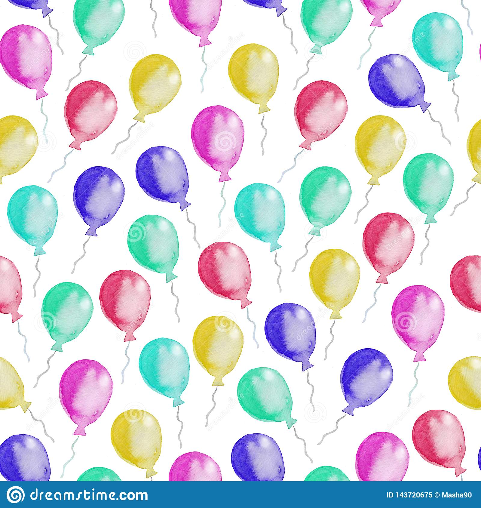 Seamless pattern of colorful balloons. Watercolor illustration