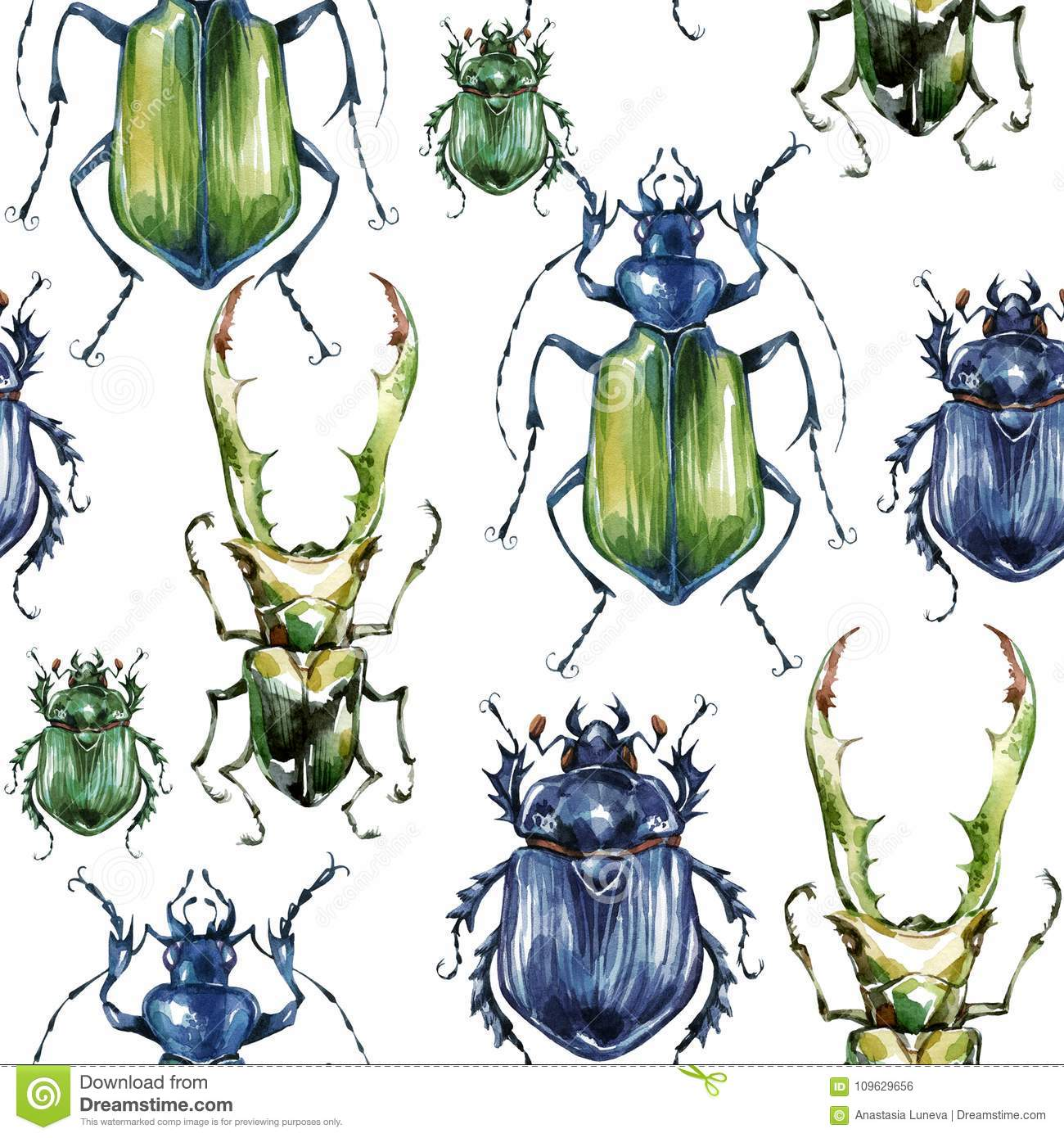 Seamless pattern with colorful beetles. Summer and spring background, watercolor illustration. Entomology. Wildlife set