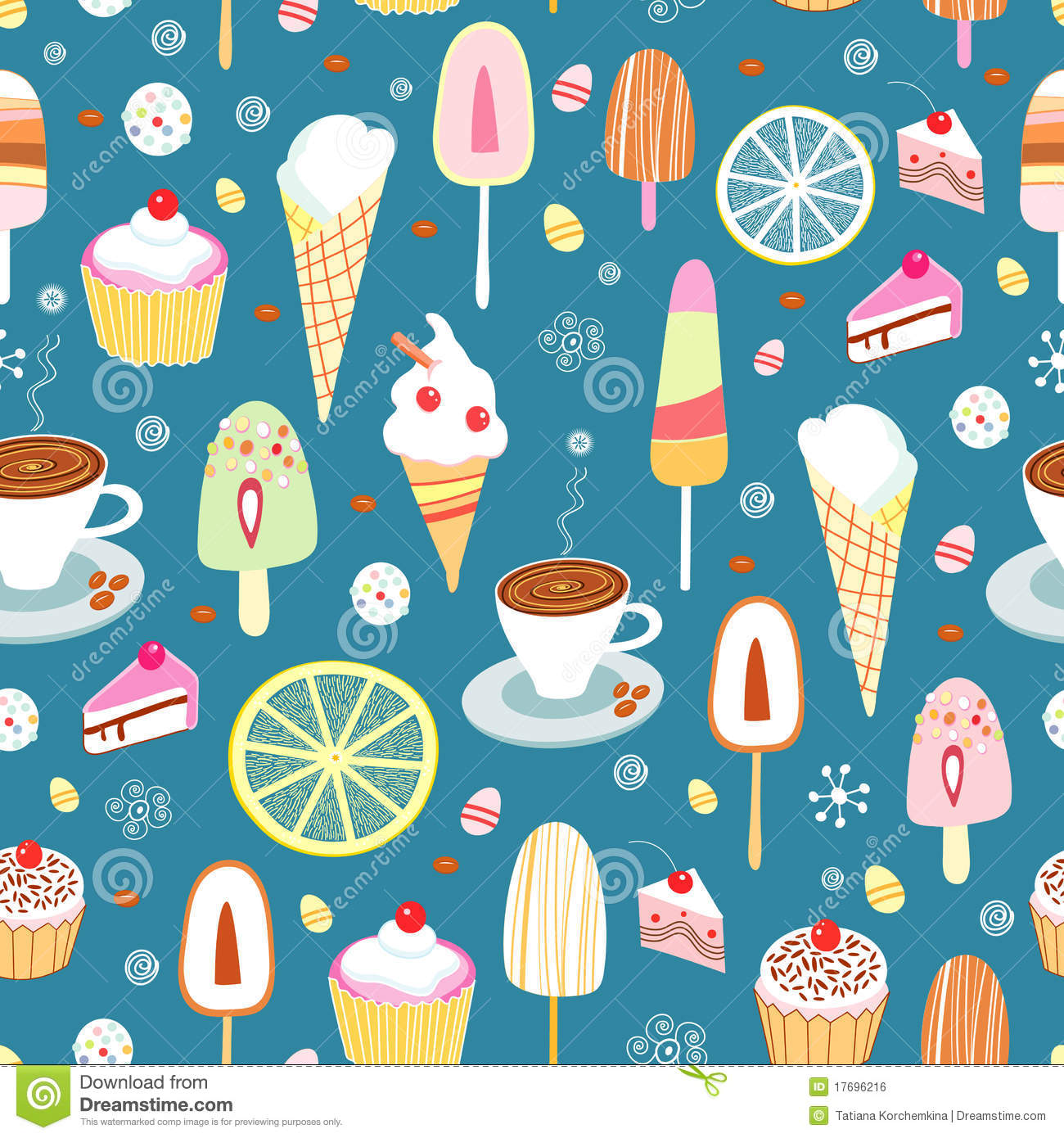 Seamless Ice Cream Background Vintage Style: Seamless Pattern Of Colorful Candy And Ice Cream Stock