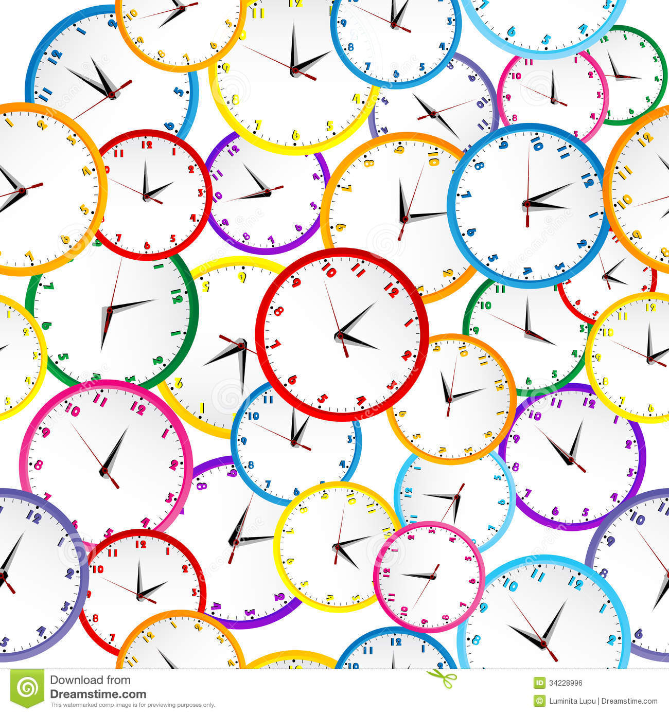 Calendar Wallpaper With Clock : Seamless pattern with colorful clocks stock illustration
