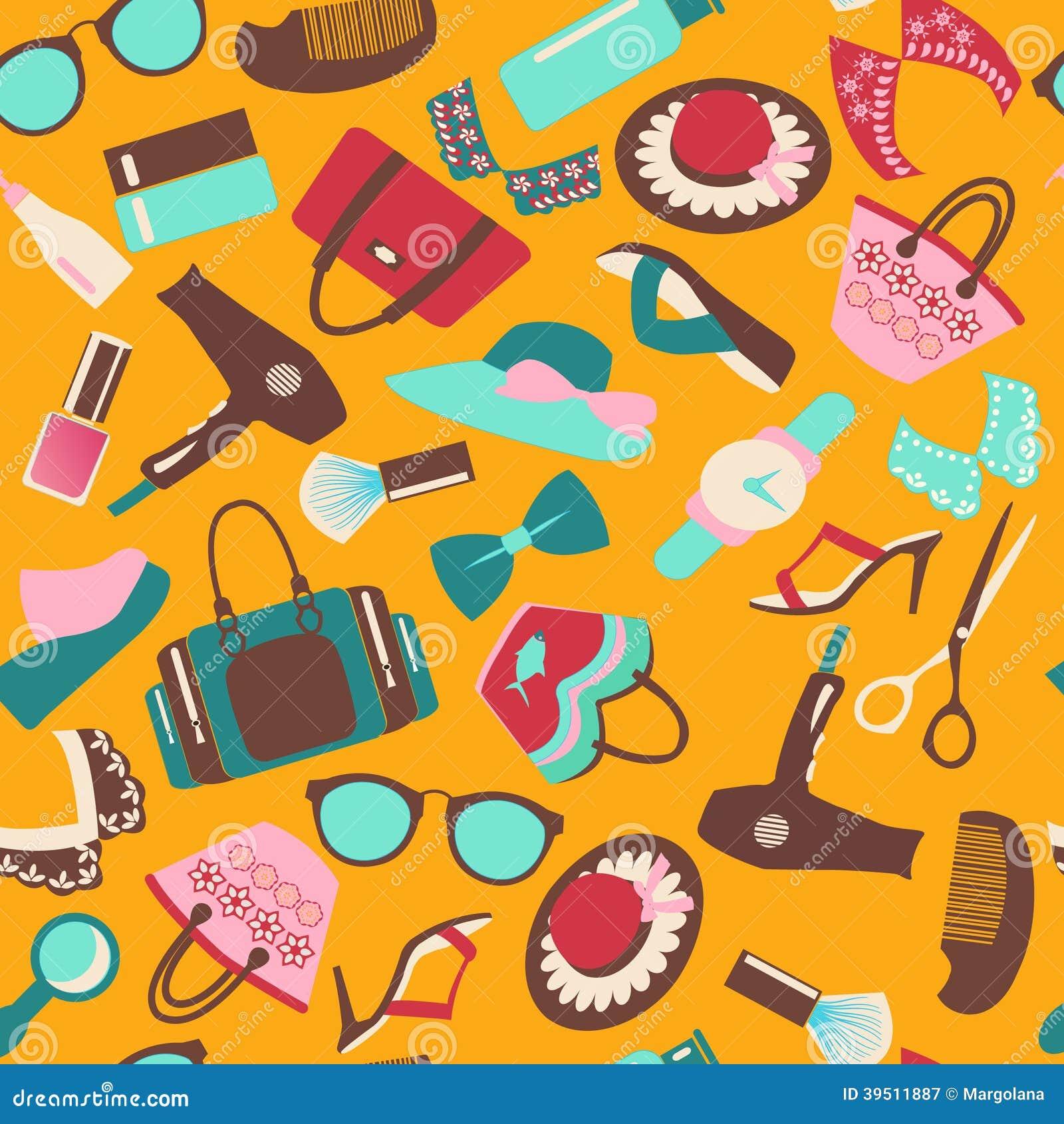 Seamless Pattern Colorful of Fashion accessory bac