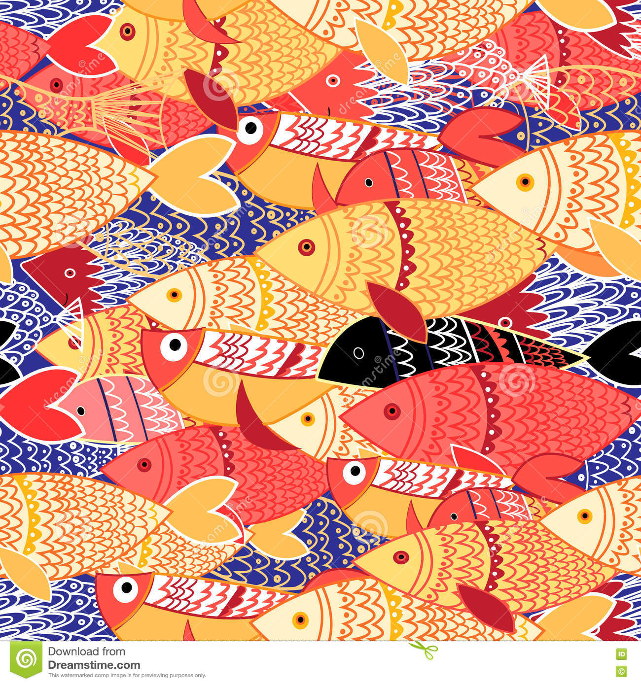 Seamless Pattern Of Colorful Fish Stock Vector - Illustration of ...