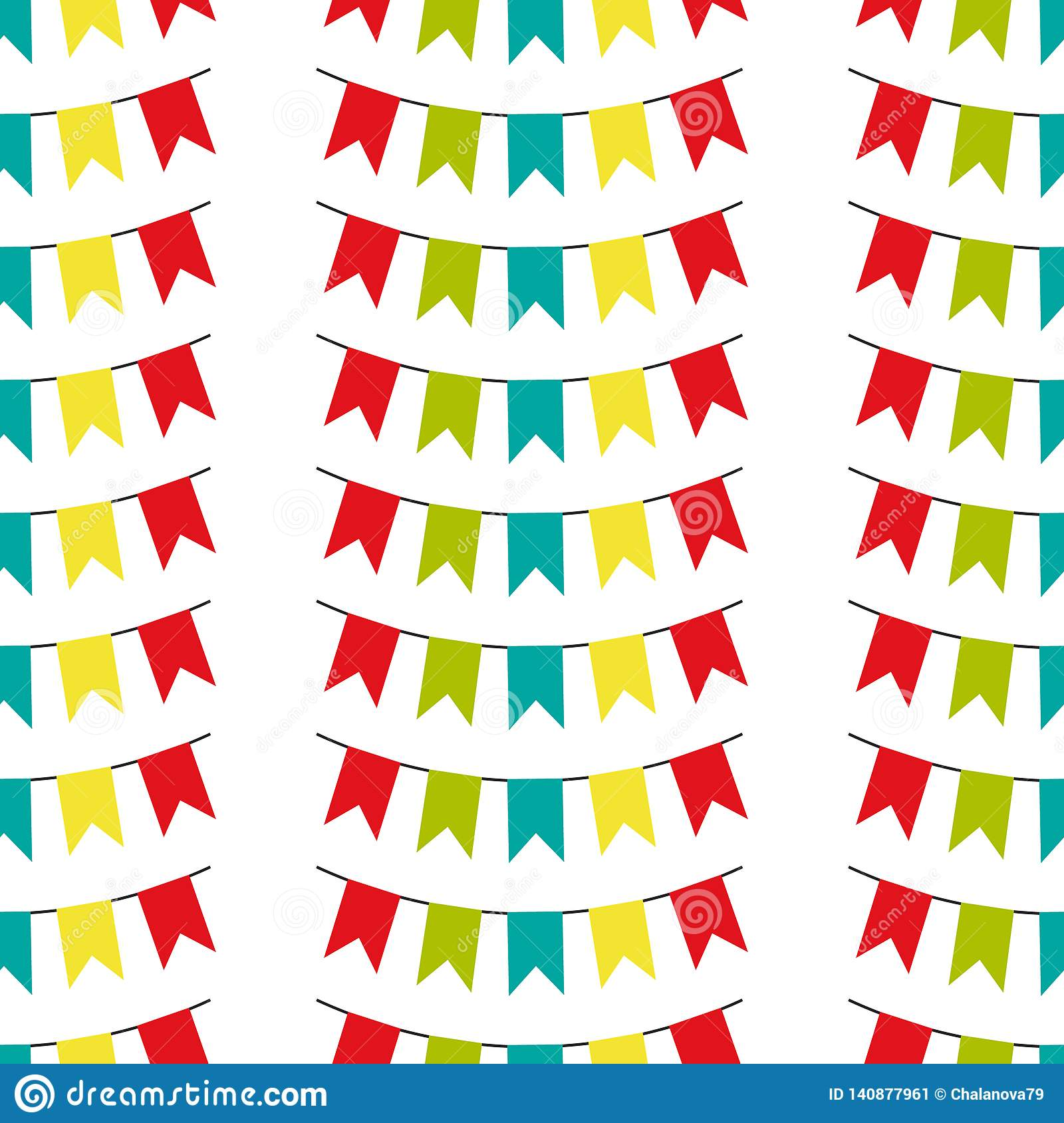Seamless pattern with colorful flags. Vector pattern on white background. Holiday background for web design, greeting card and