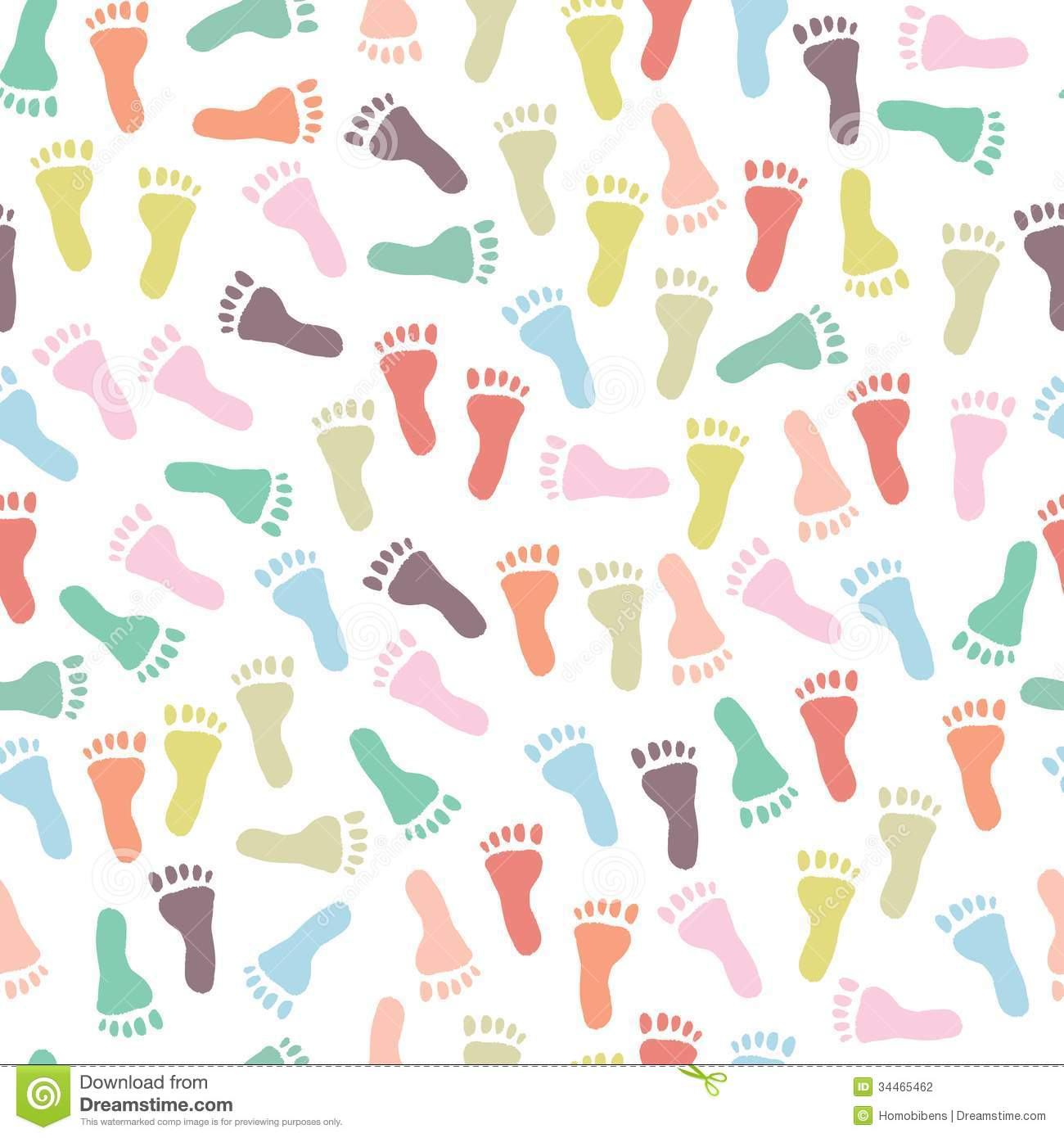 Seamless pattern with colorful footprints