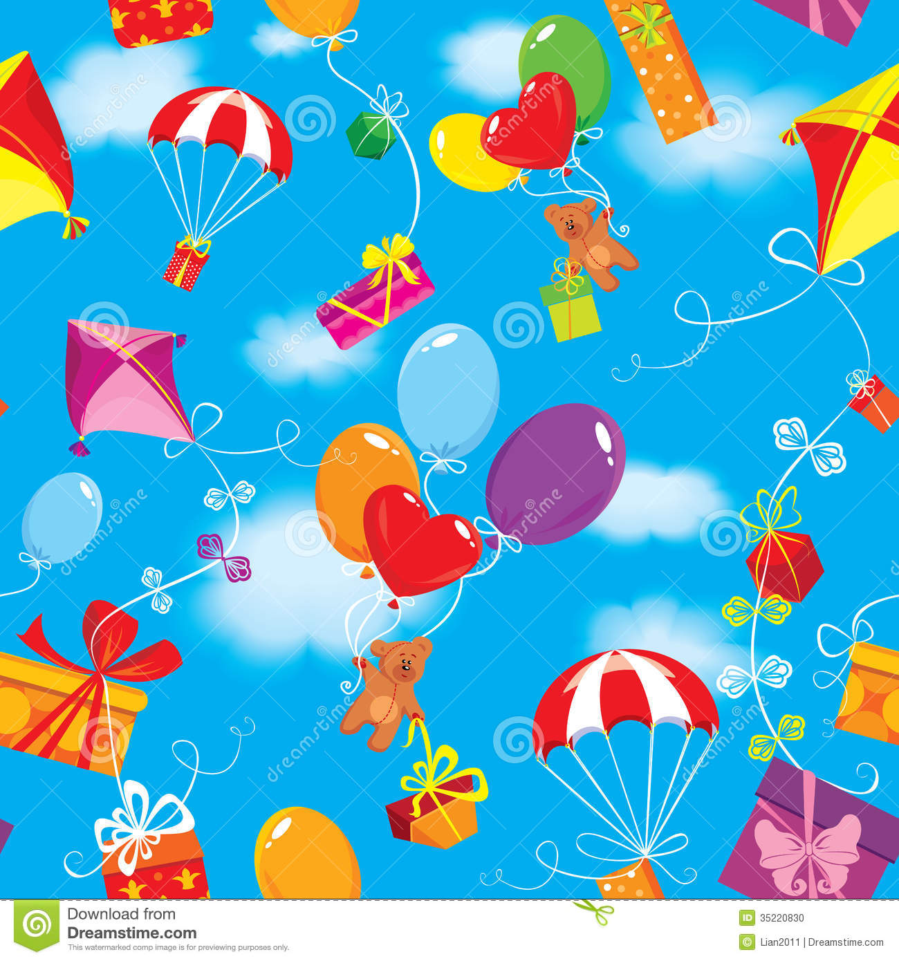Kite Background Seamless pattern with colorful