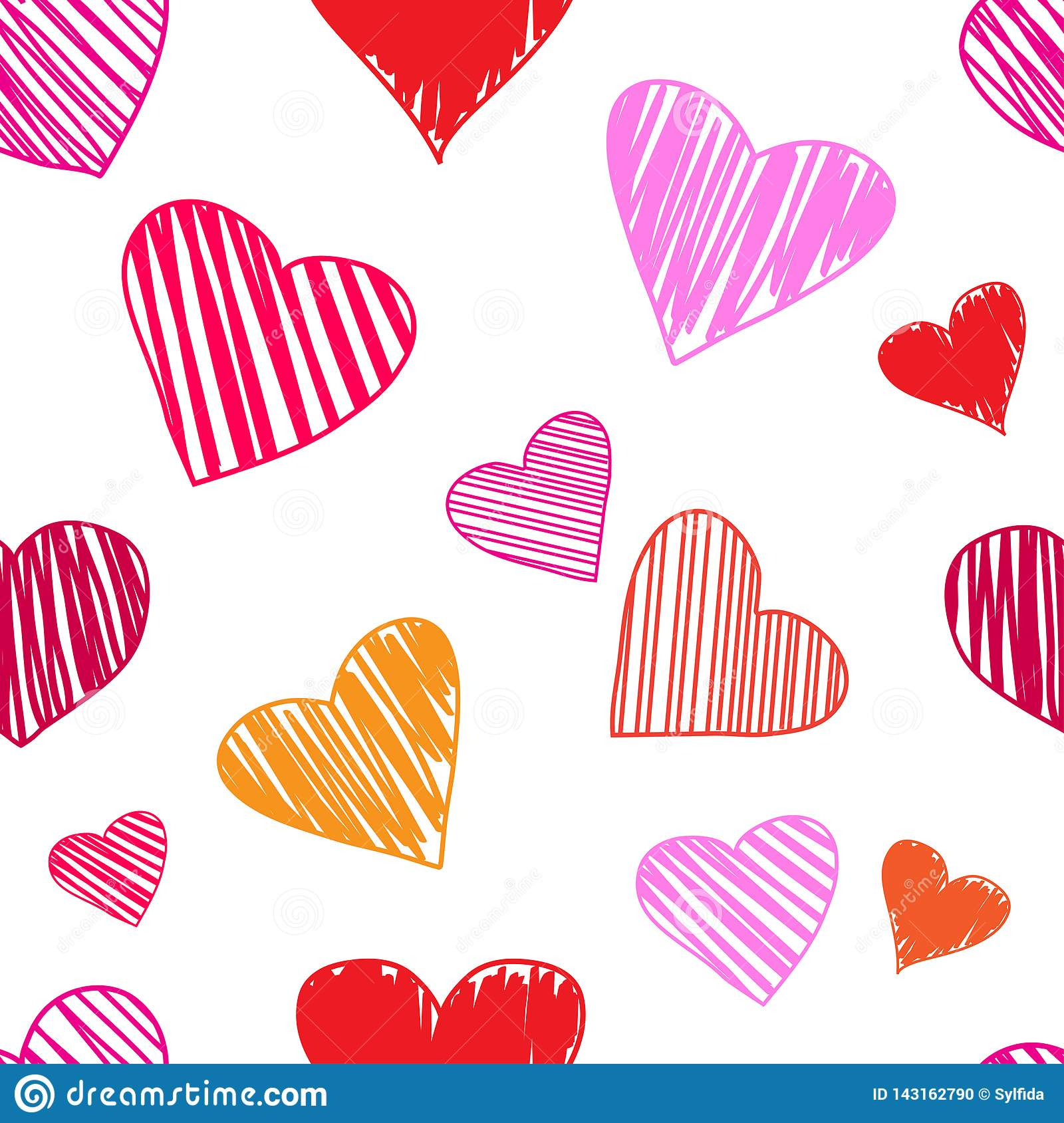 Seamless pattern with colorful hearts on white background. Vector illustration