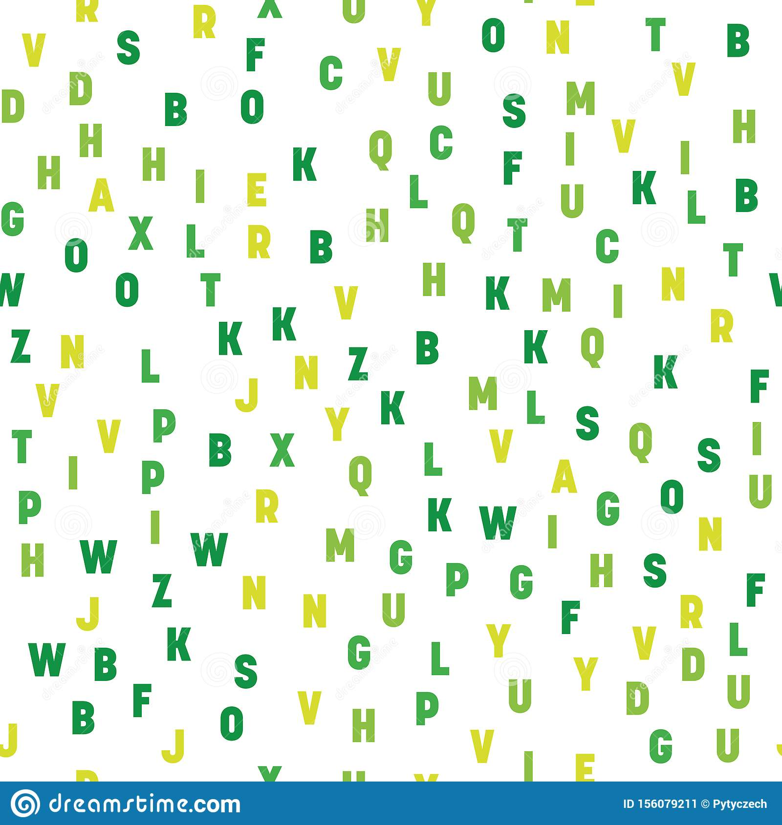 Seamless pattern of colorful letters. Random order signs. Vector background