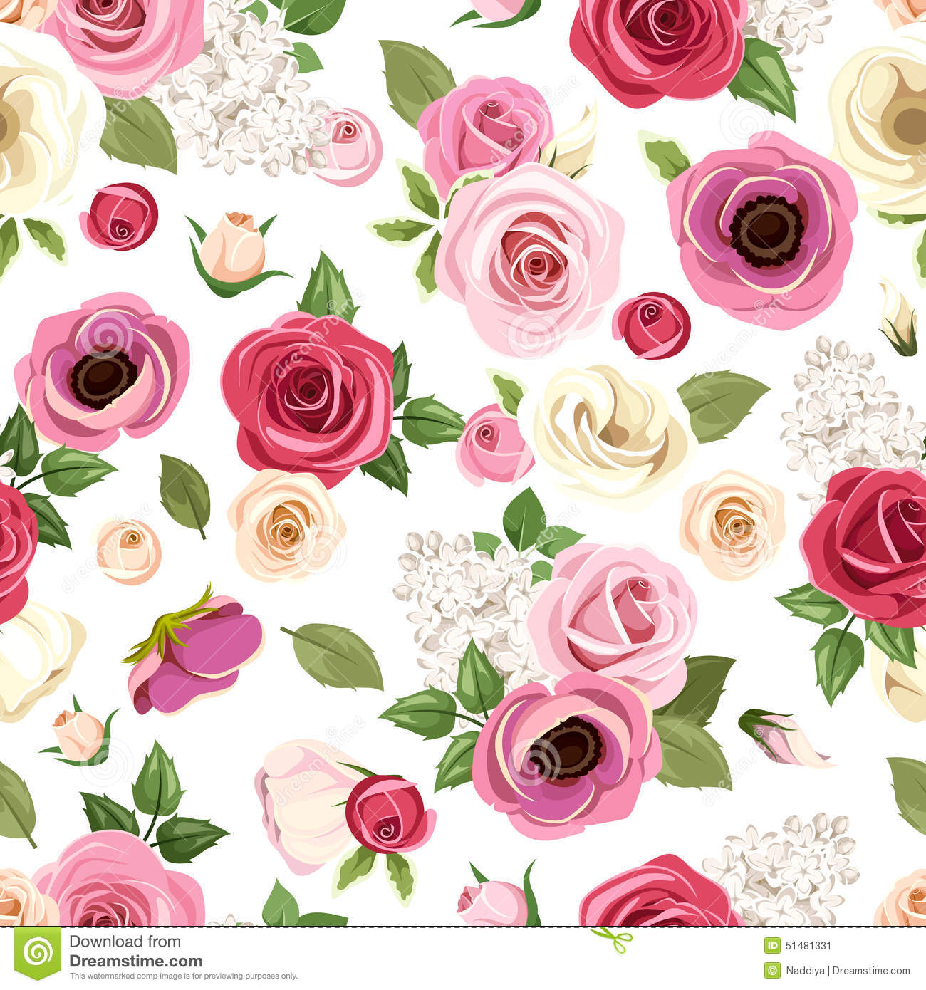 Seamless Pattern With Colorful Roses, Lisianthus And