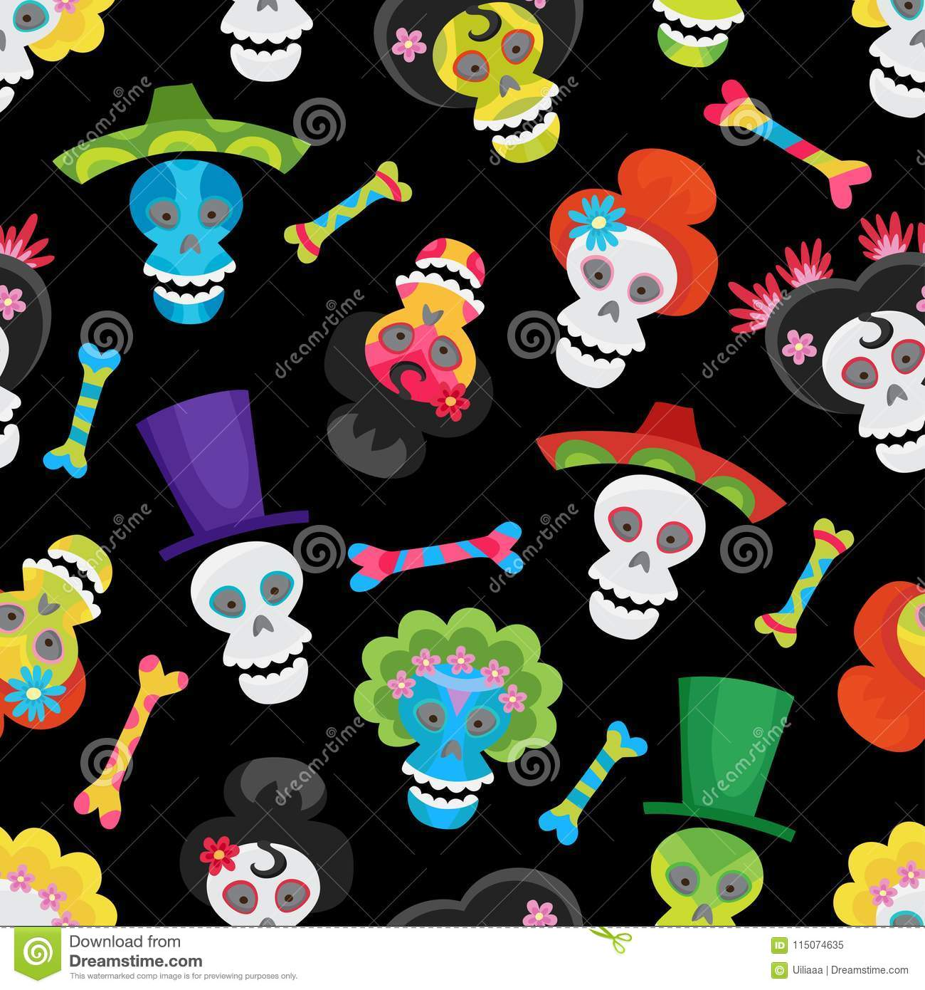 6e48b46a092 Seamless Pattern With Colorful Skulls And Bones For Halloween Stock ...