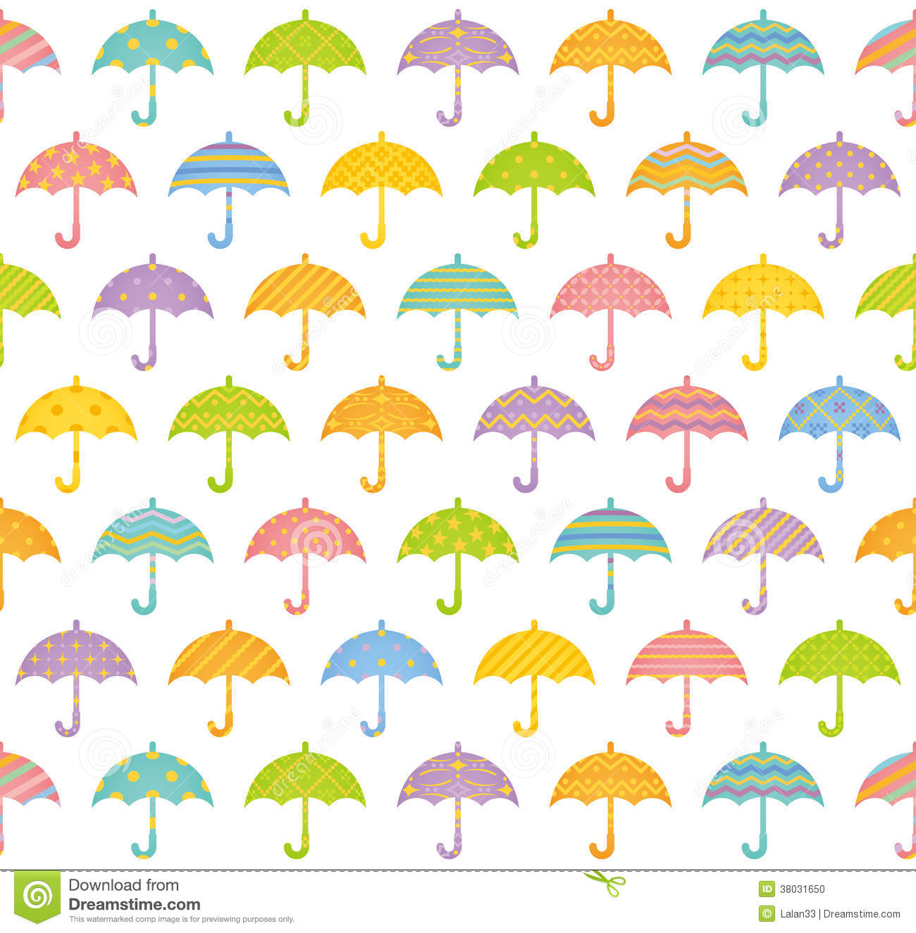 Seamless pattern with colorful umbrellas.