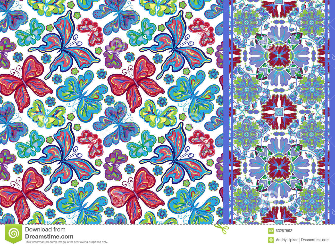 Seamless Pattern With Colorful Vintage Butterflies And ...