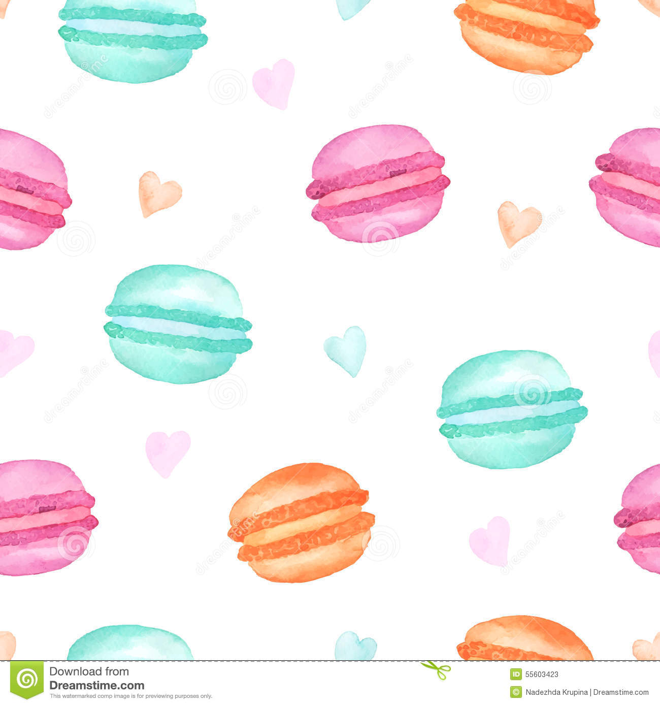 Seamless pattern colorful watercolor macaroons