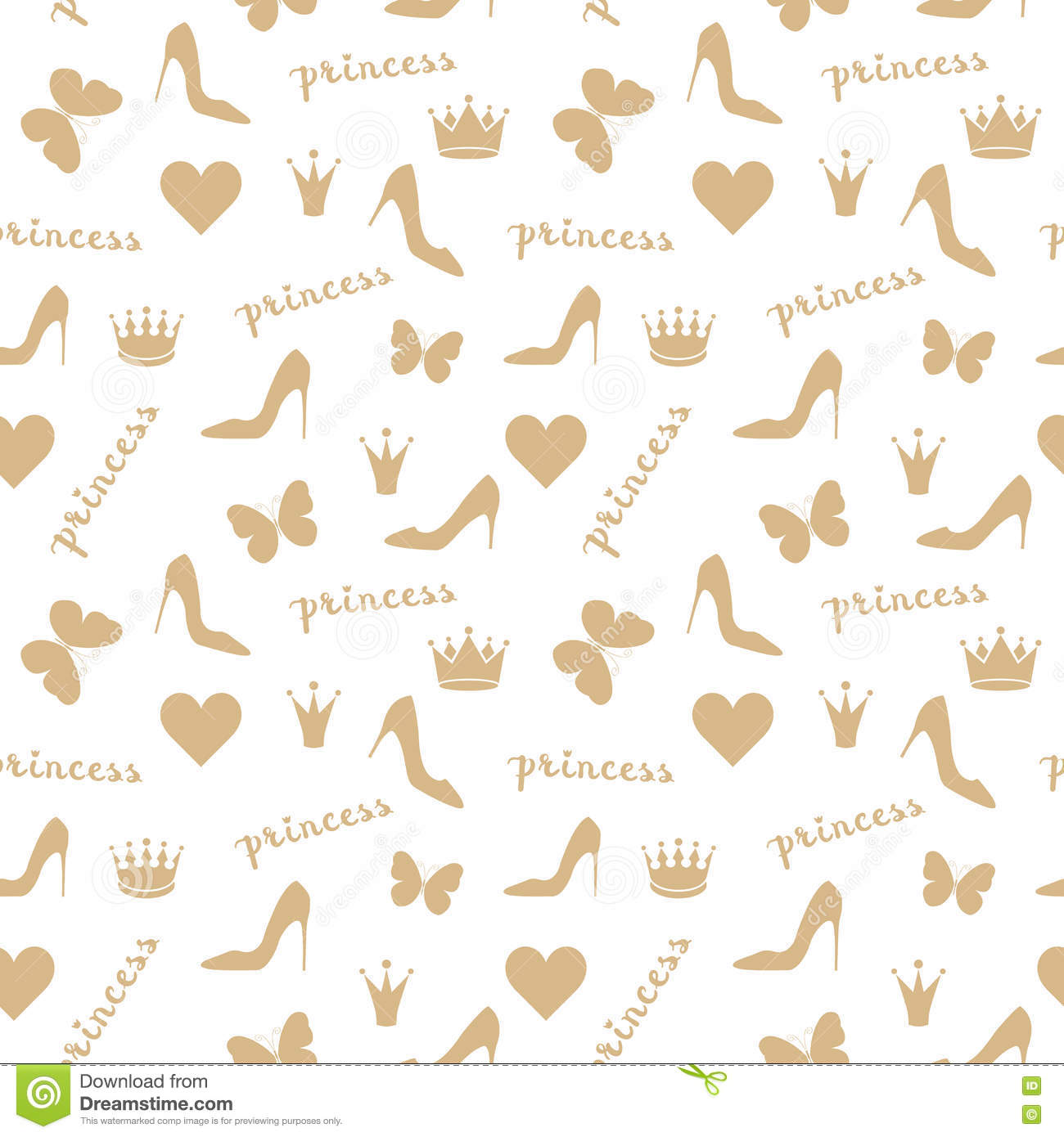Seamless pattern. Crowns, butterflies, shoes silhouettes