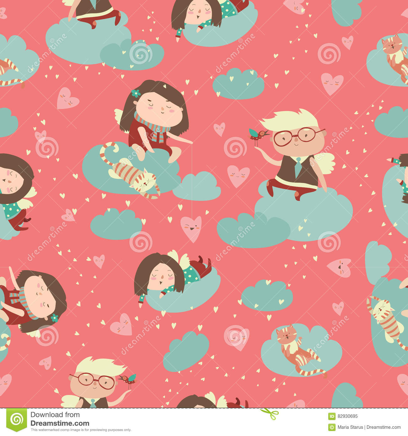 Seamless Pattern With Cute Angels Celebrating Valentines Day