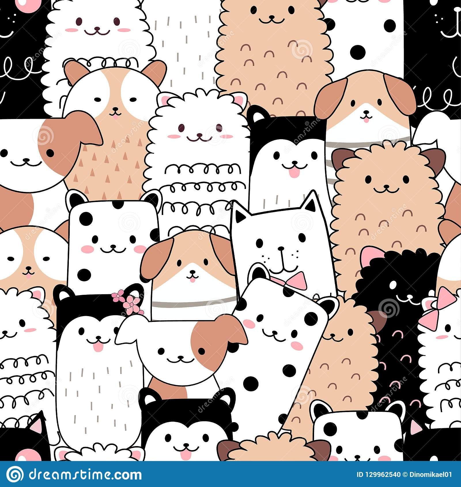 Seamless Pattern Cute Animal Cartoon Stock Vector ...