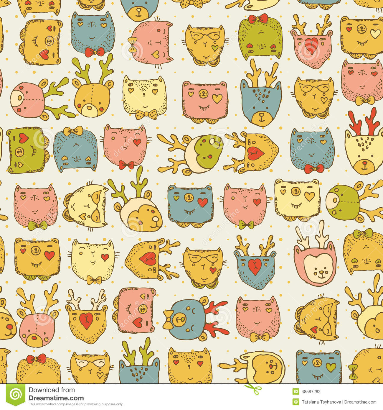 Seamless pattern with cute animals for baby fabric kids for Modern kids fabric