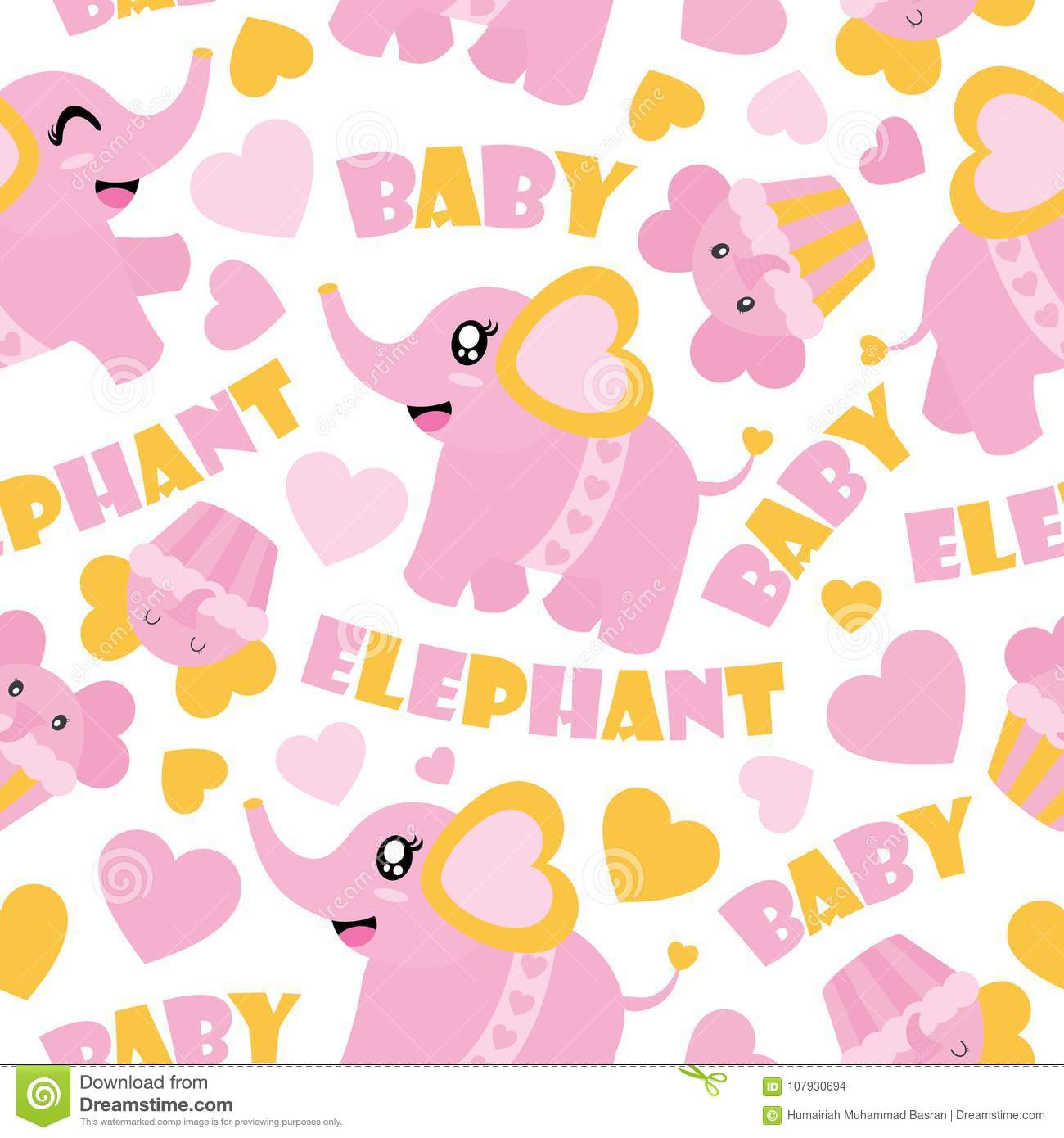 Seamless Pattern Of Cute Baby Elephant And Cupcakes Cartoon